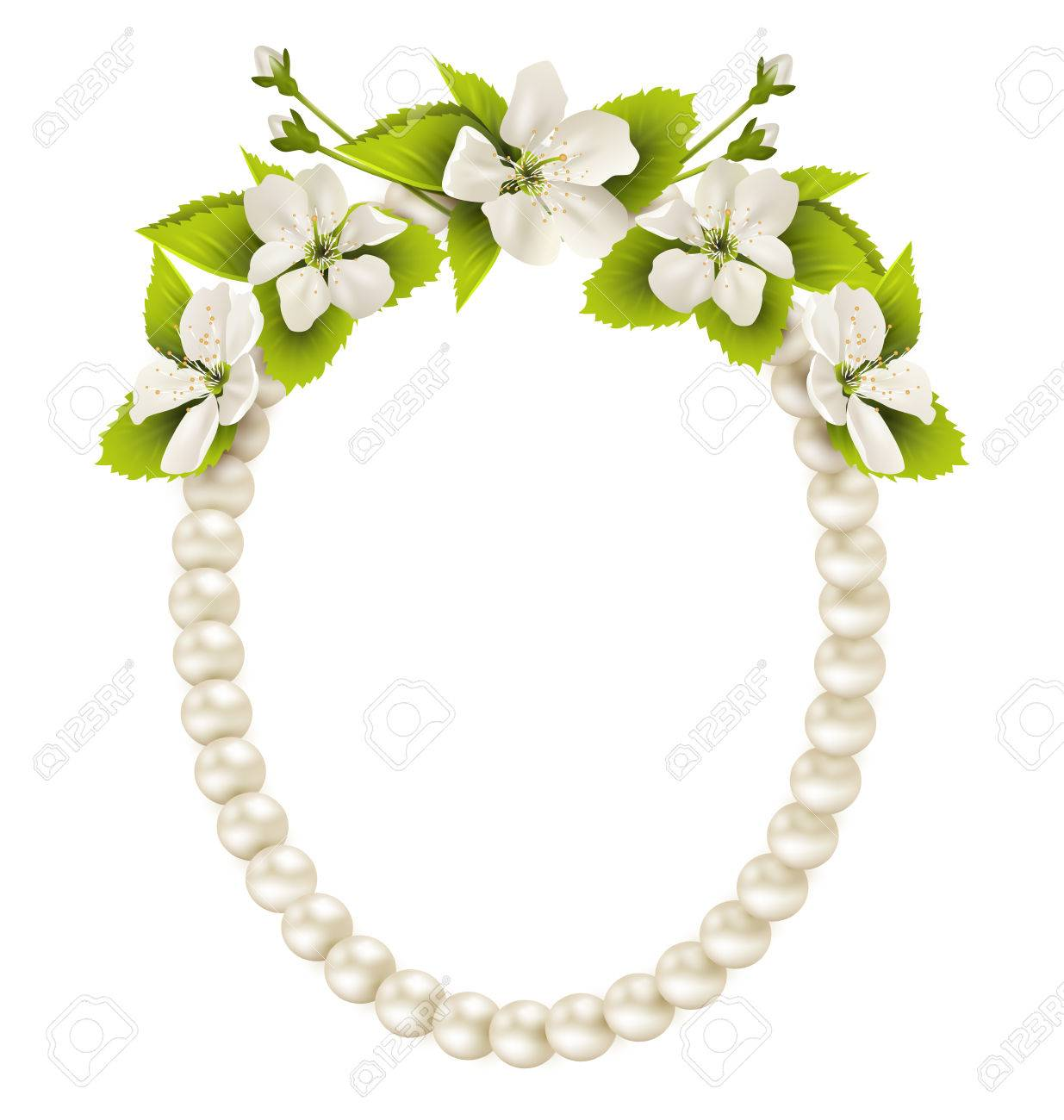 Pearl Oval Like Frame With Cherry Flowers Isolated On White ...
