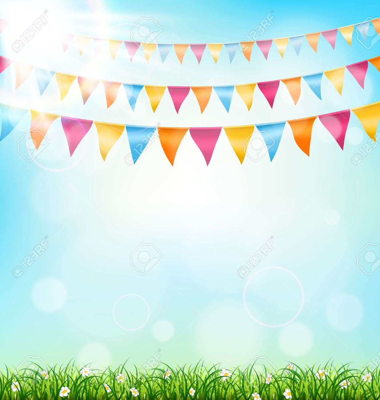 Celebration background with buntings grass and sunlight on sky background - 38977679