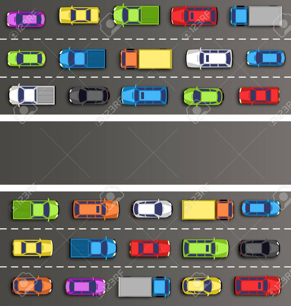 Traffic jam on the road with cars on gray background - 41035110