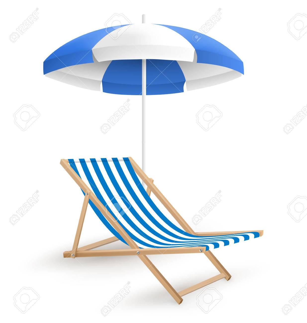 Beach umbrella and chair - Sun Beach Umbrella With Beach Chair Isolated On White Background Stock Vector 41035096