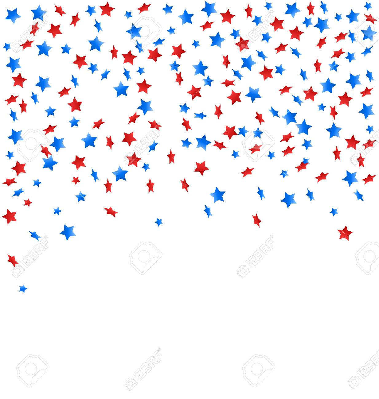 USA celebration confetti stars in national colors for independence day isolated on white background - 41037708