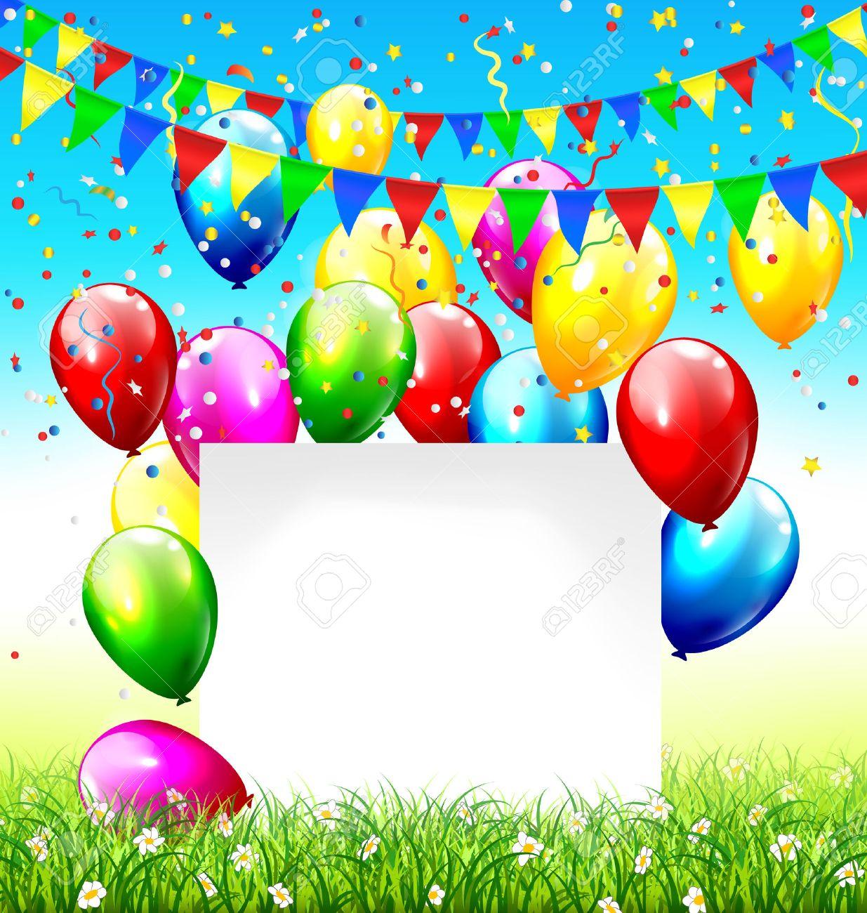 Celebración de fondo con escribanos marco globos de papel césped y confeti  en el fondo del 583621e4af6