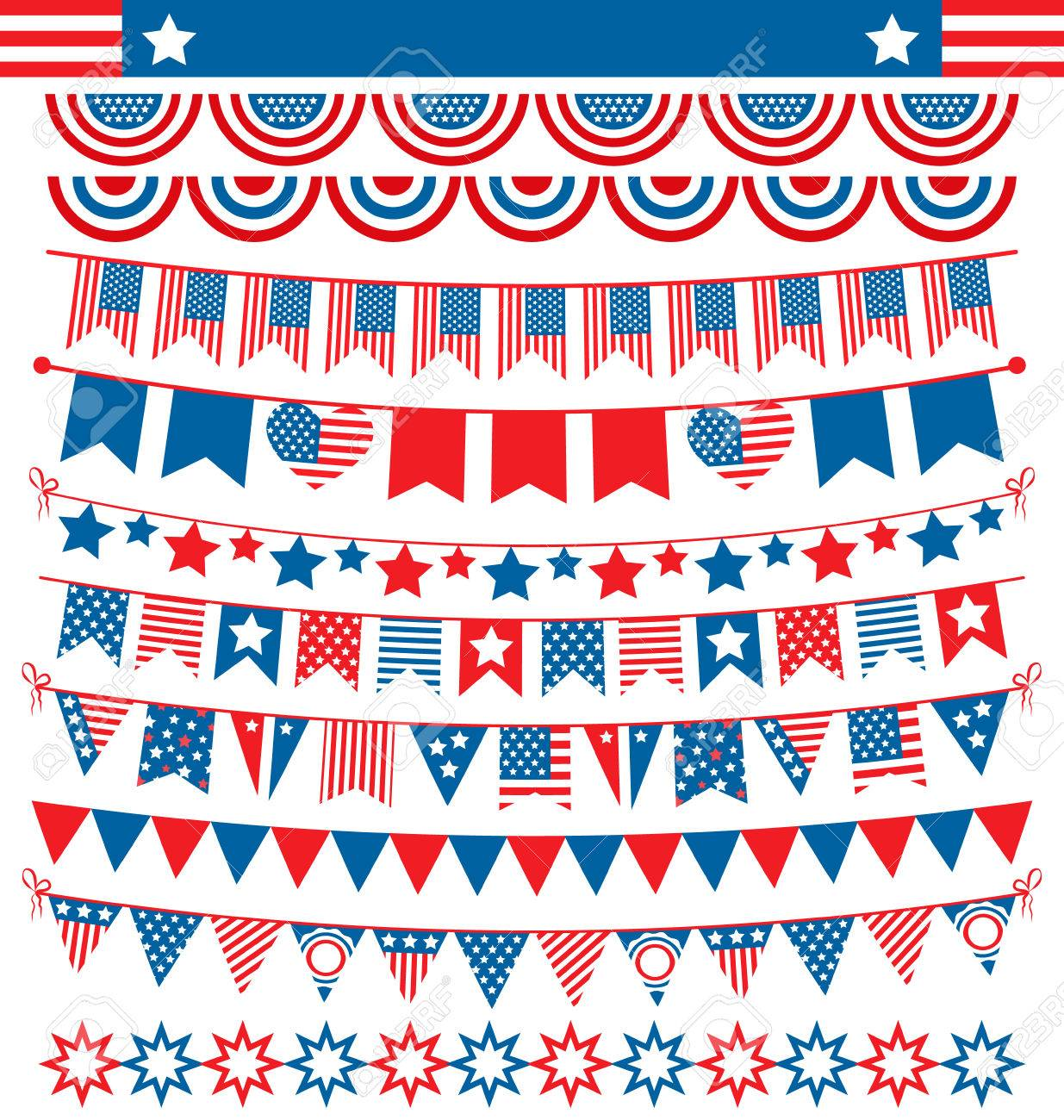 USA celebration buntings garlands flags flat national set for independence day isolated on white background - 41448211