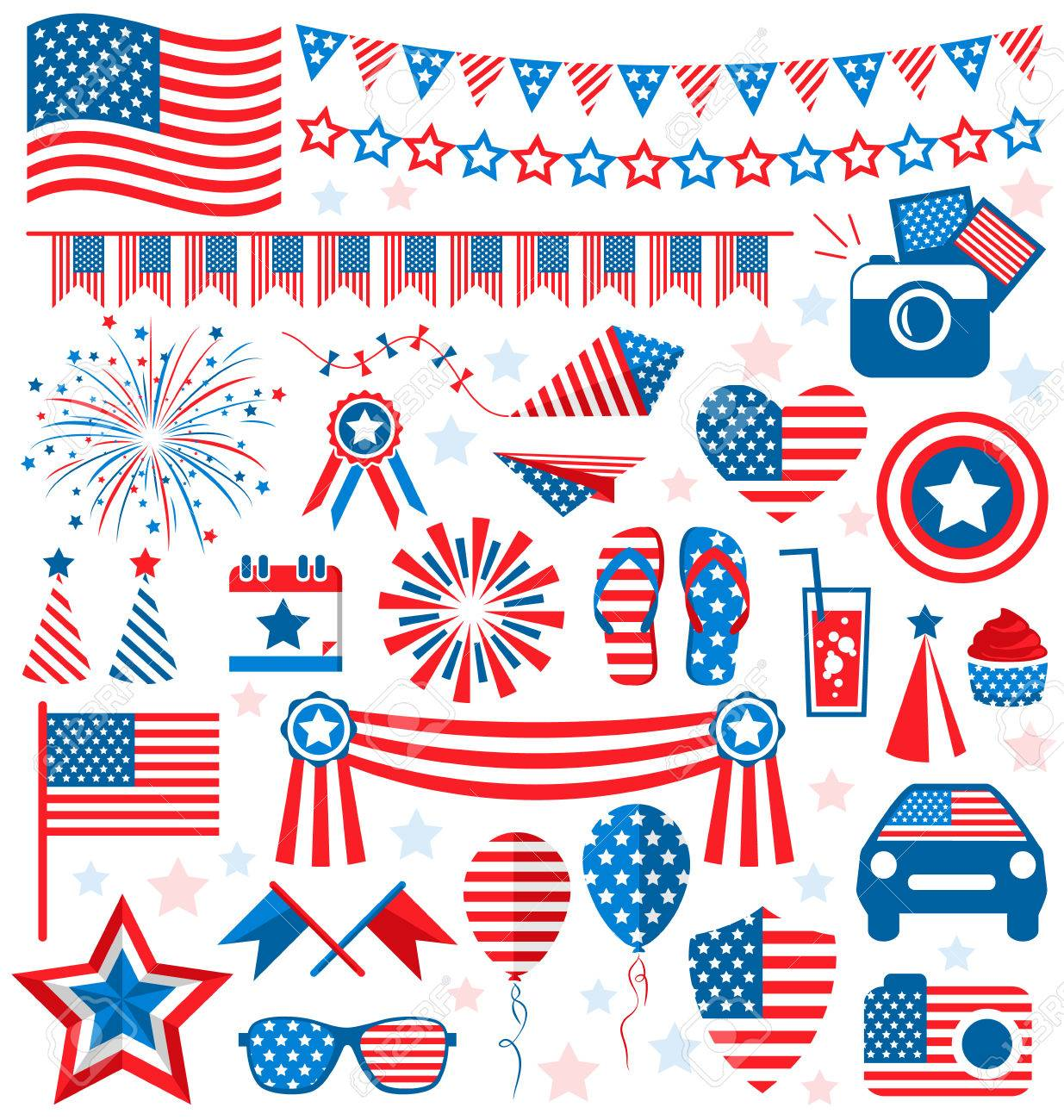 Usa Celebration Flat National Symbols Set For Independence Day