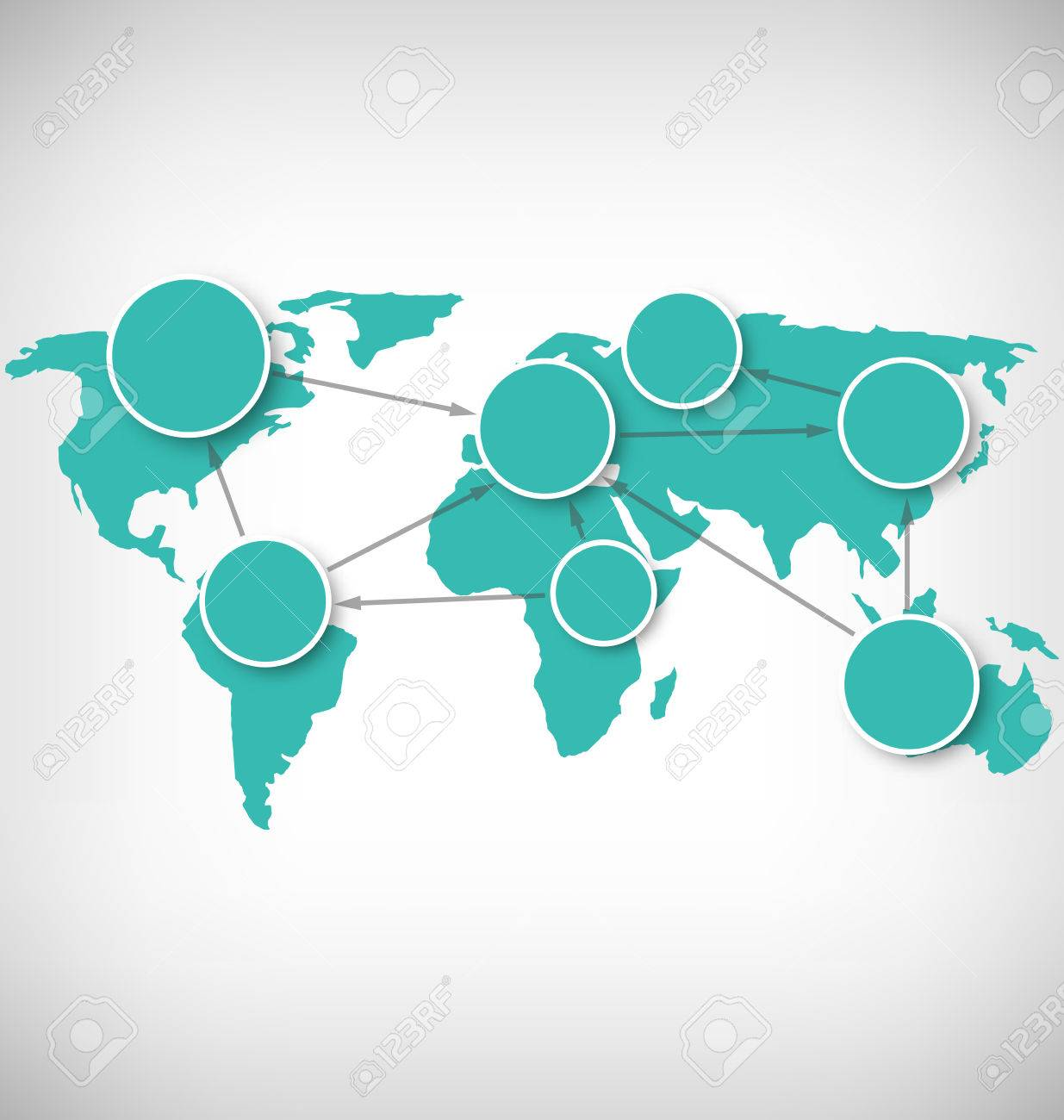 World map with circle information marks on grayscale background vector world map with circle information marks on grayscale background gumiabroncs Images