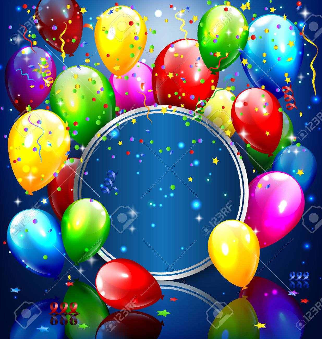 Multicolored inflatable balloons with circle frame and confetti on blue background - 41732148