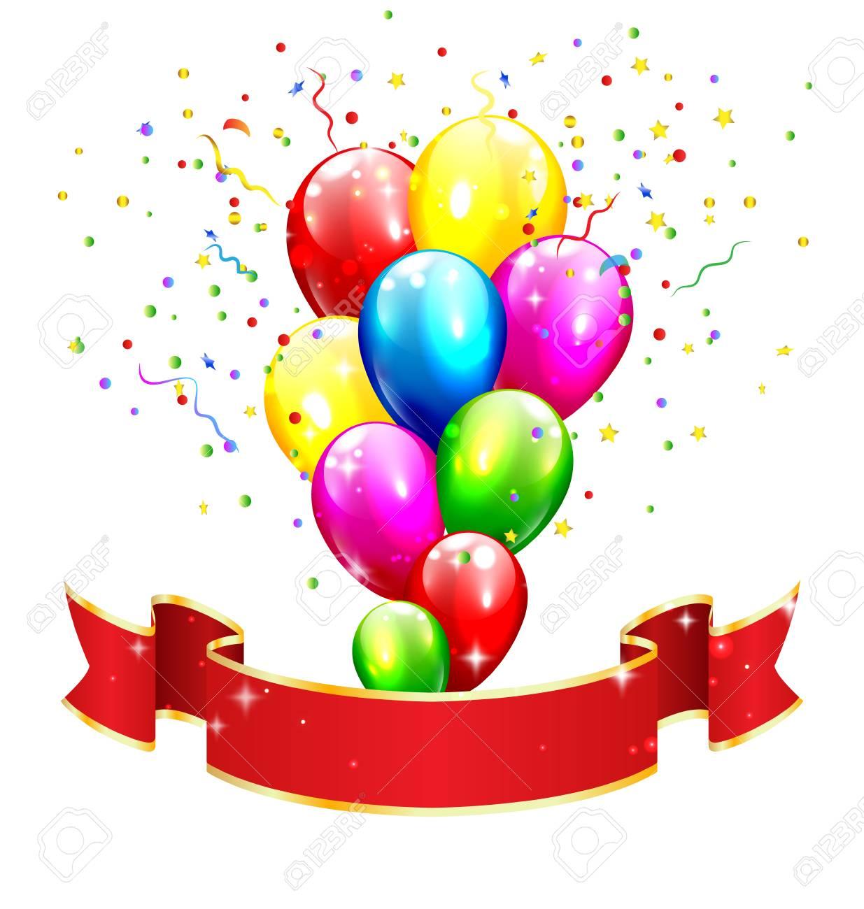 Celebración Cinta roja con inflables Brillantes globos y confeti aisladas  sobre fondo blanco Foto de archivo 96a0fc22b67
