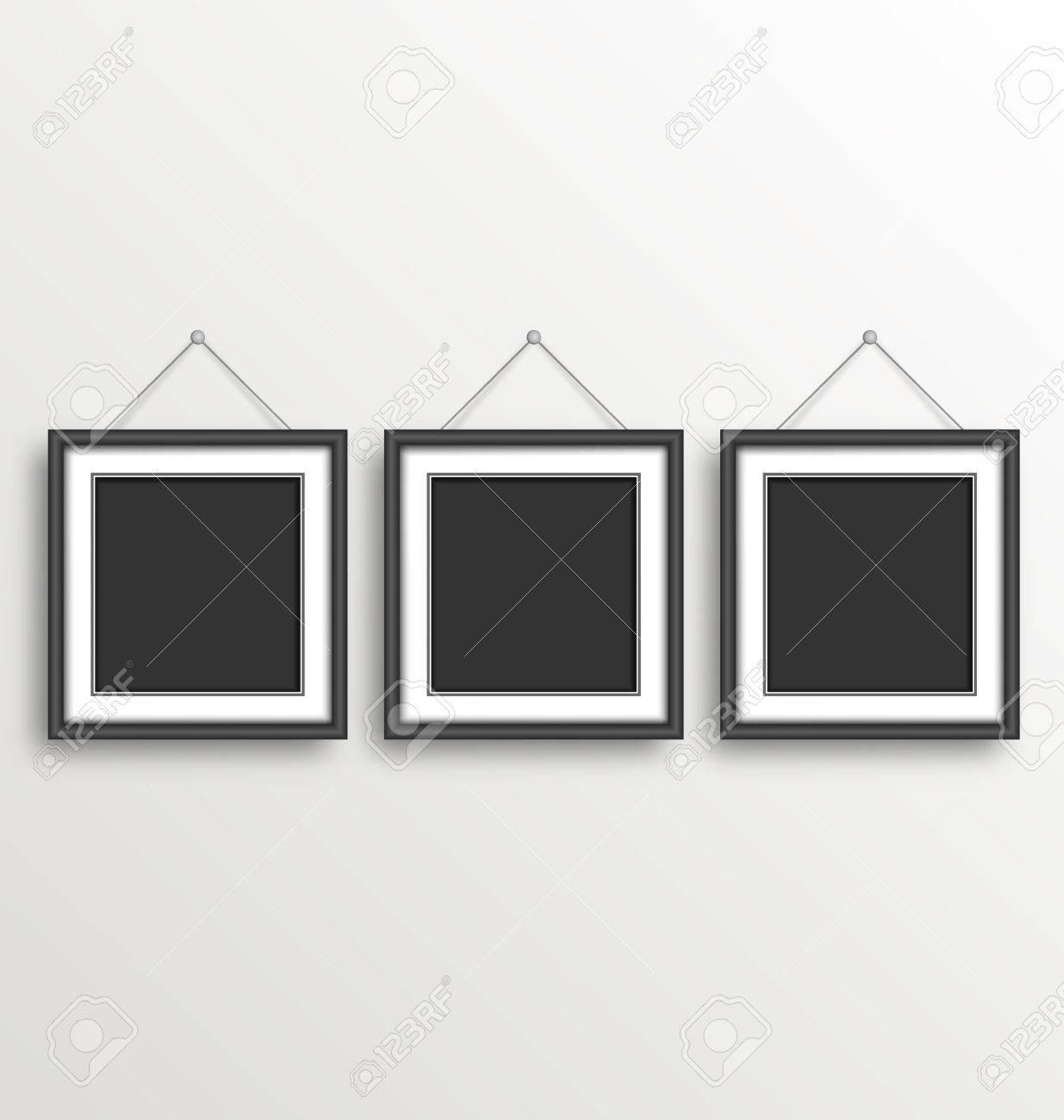 Three black simple modern blank frames on grayscale background three black simple modern blank frames on grayscale background stock photo 42139630 jeuxipadfo Images