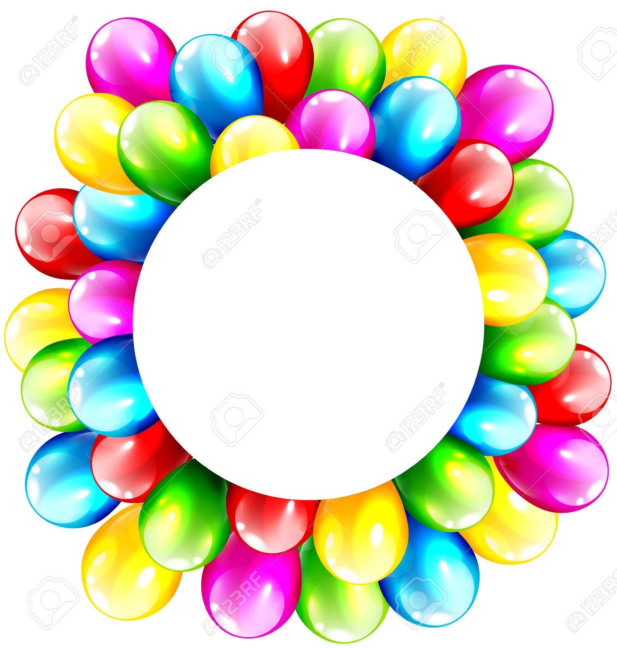 Celebración inflables multicolores brillantes Globos con marco del círculo  aisladas sobre fondo blanco Foto de archivo d7f05e2de4a