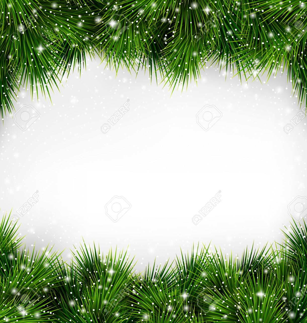 Shiny Green Christmas Tree Pine Branches Like Frame with Snowfall on White Background - 46963291