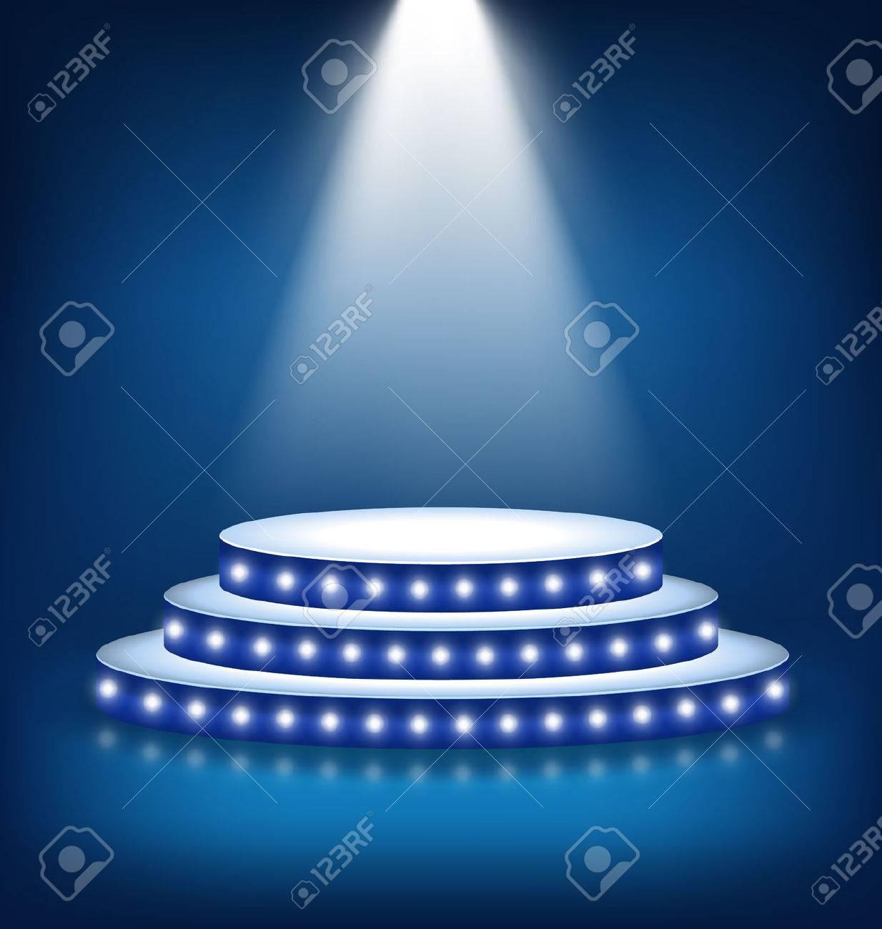 Illuminated Festive Stage Podium with Lamps on Blue Background - 46963629