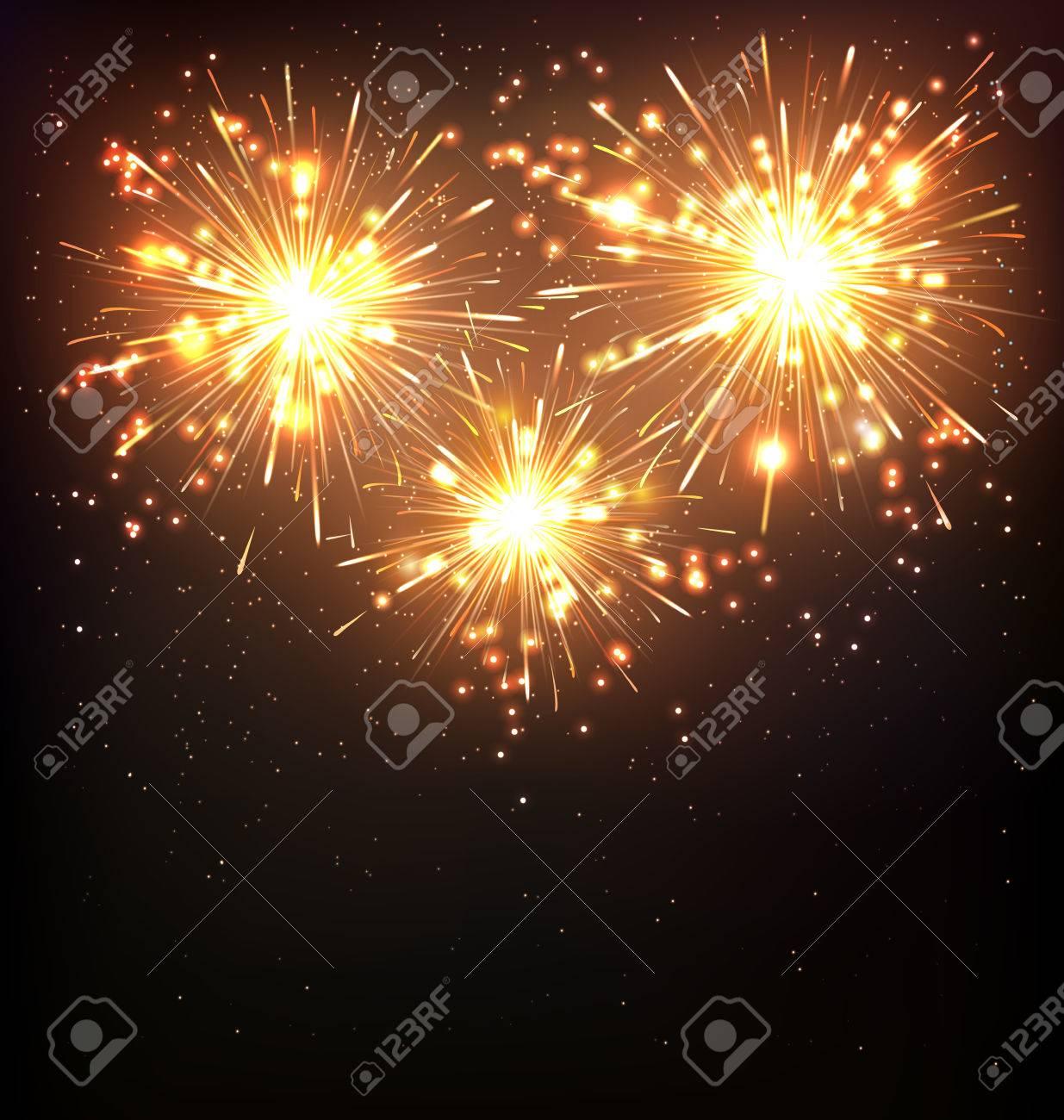 Festive Firework Salute Burst on Black Background - 47163492