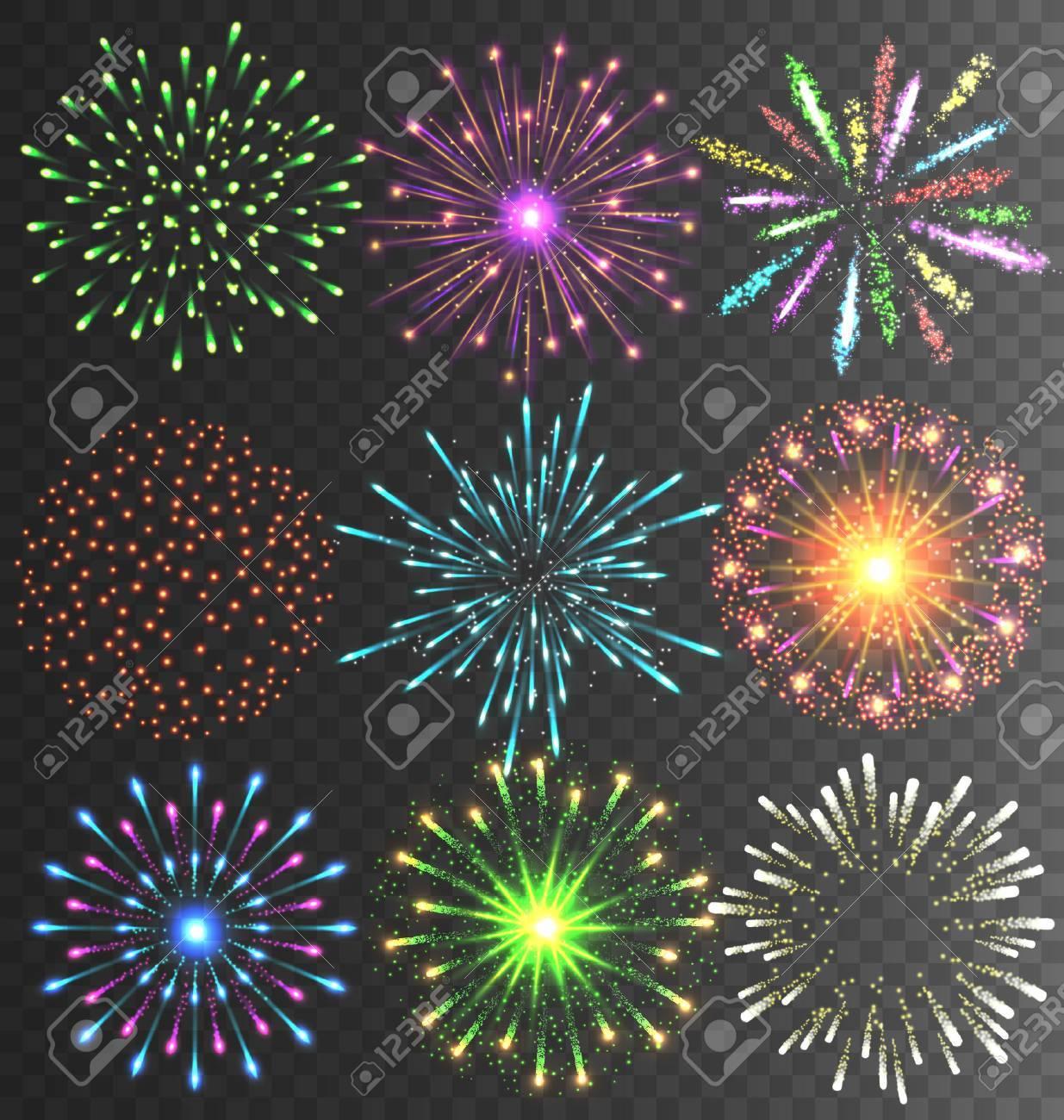 Festive Colorful Bright Firework Salute Burst on Transparent Background - 47163485