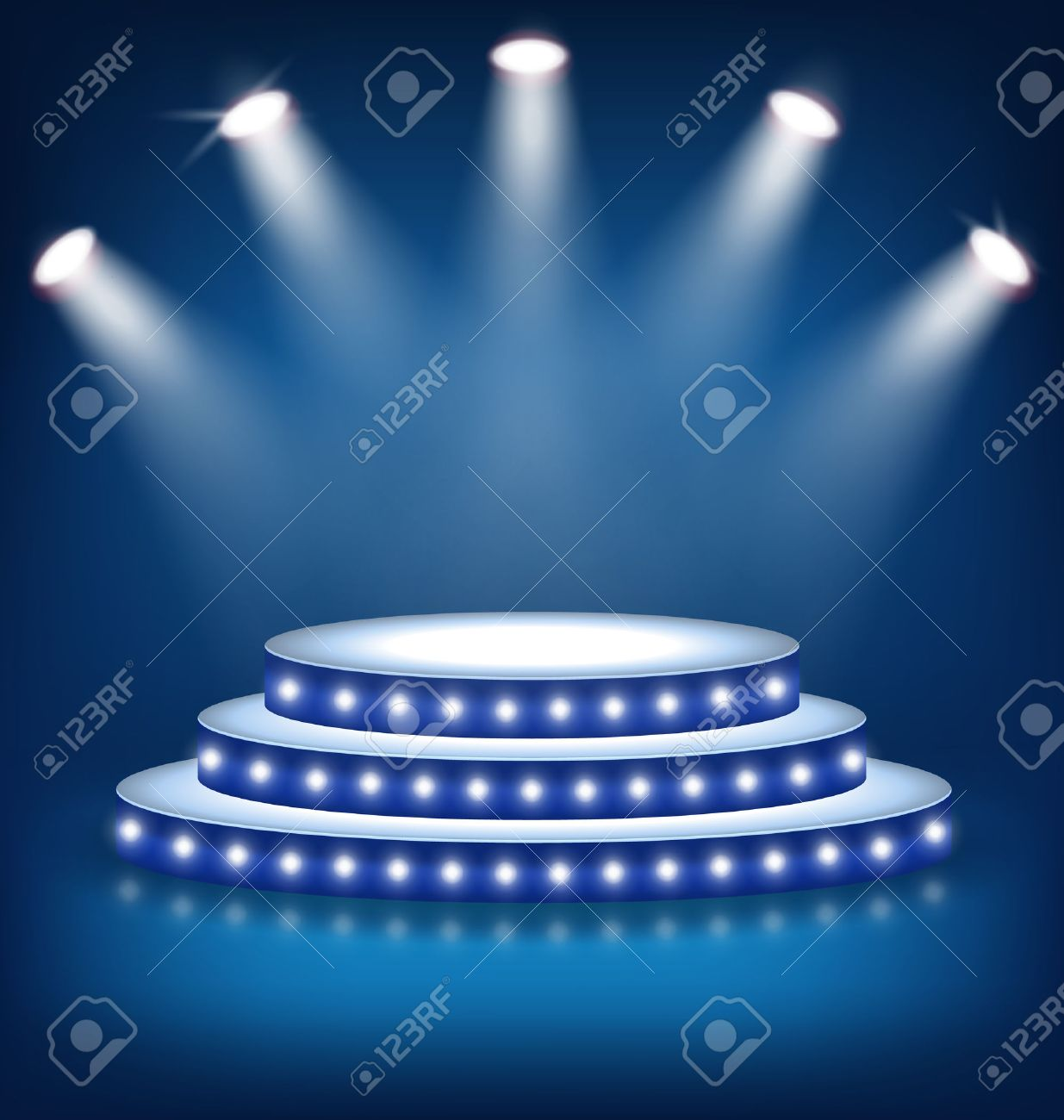 Illuminated Festive Stage Podium with Lamps on Blue Background - 47163638