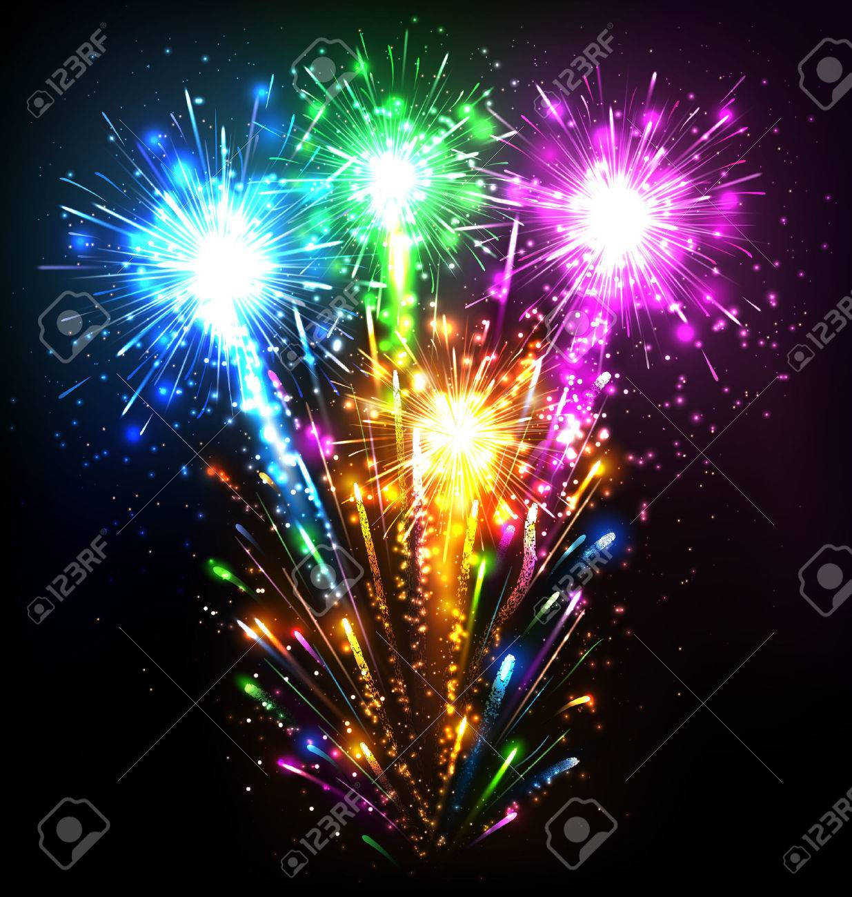 Festive Firework Salute Burst on Black Background - 47163765