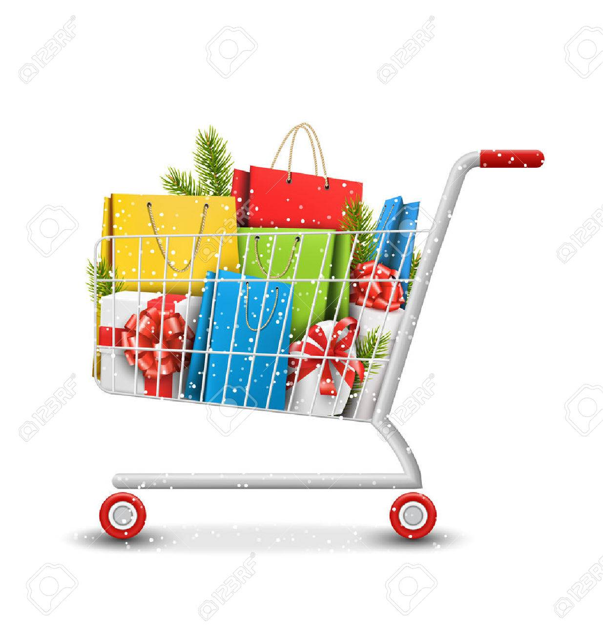 Christmas Winter Sale Shopping Cart with Bags Gift Boxes and Pine Branches Isolated on White Background - 47839062