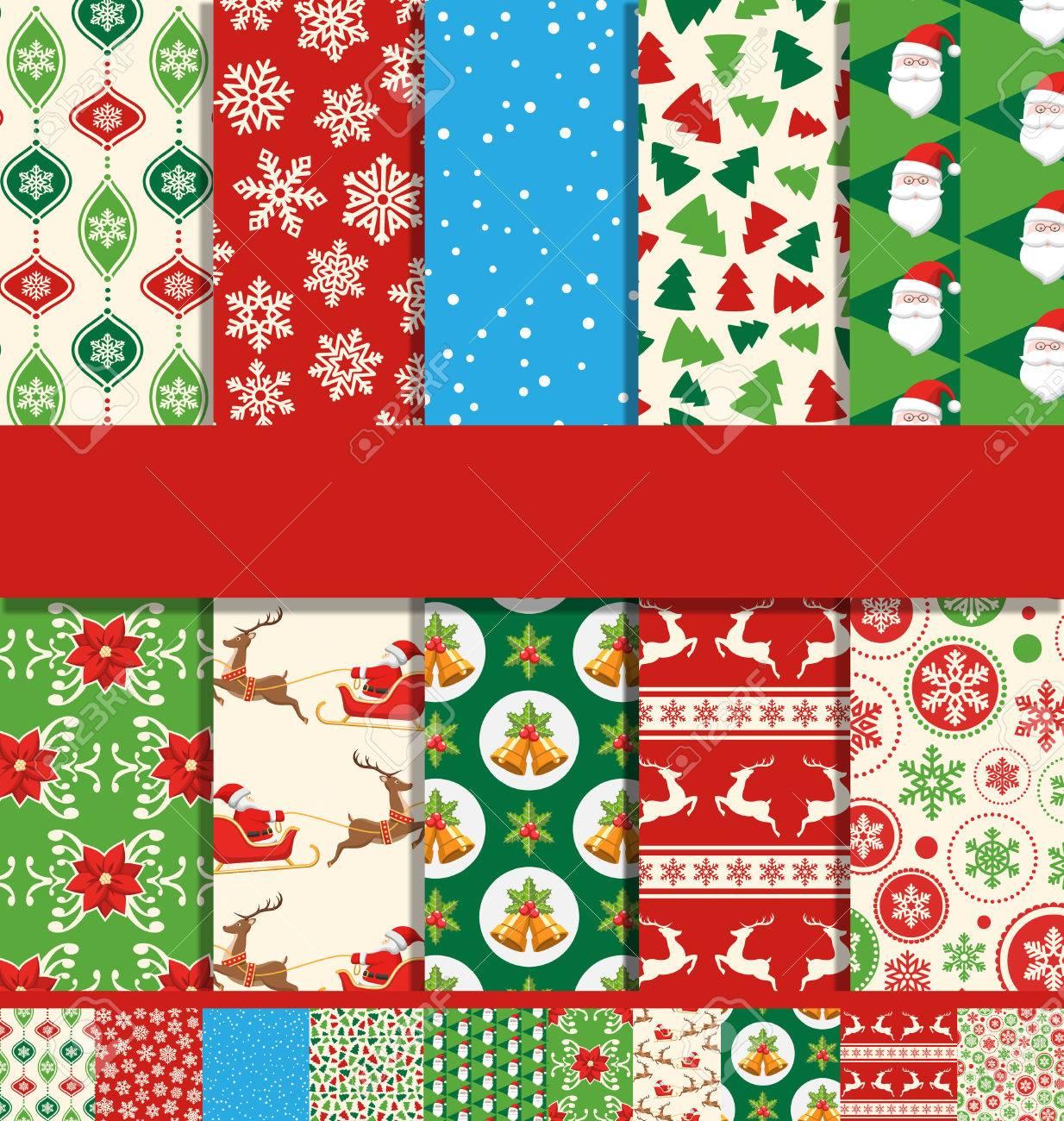 Set of 10 Seamless Bright Fun Christmas Patterns - 48734468