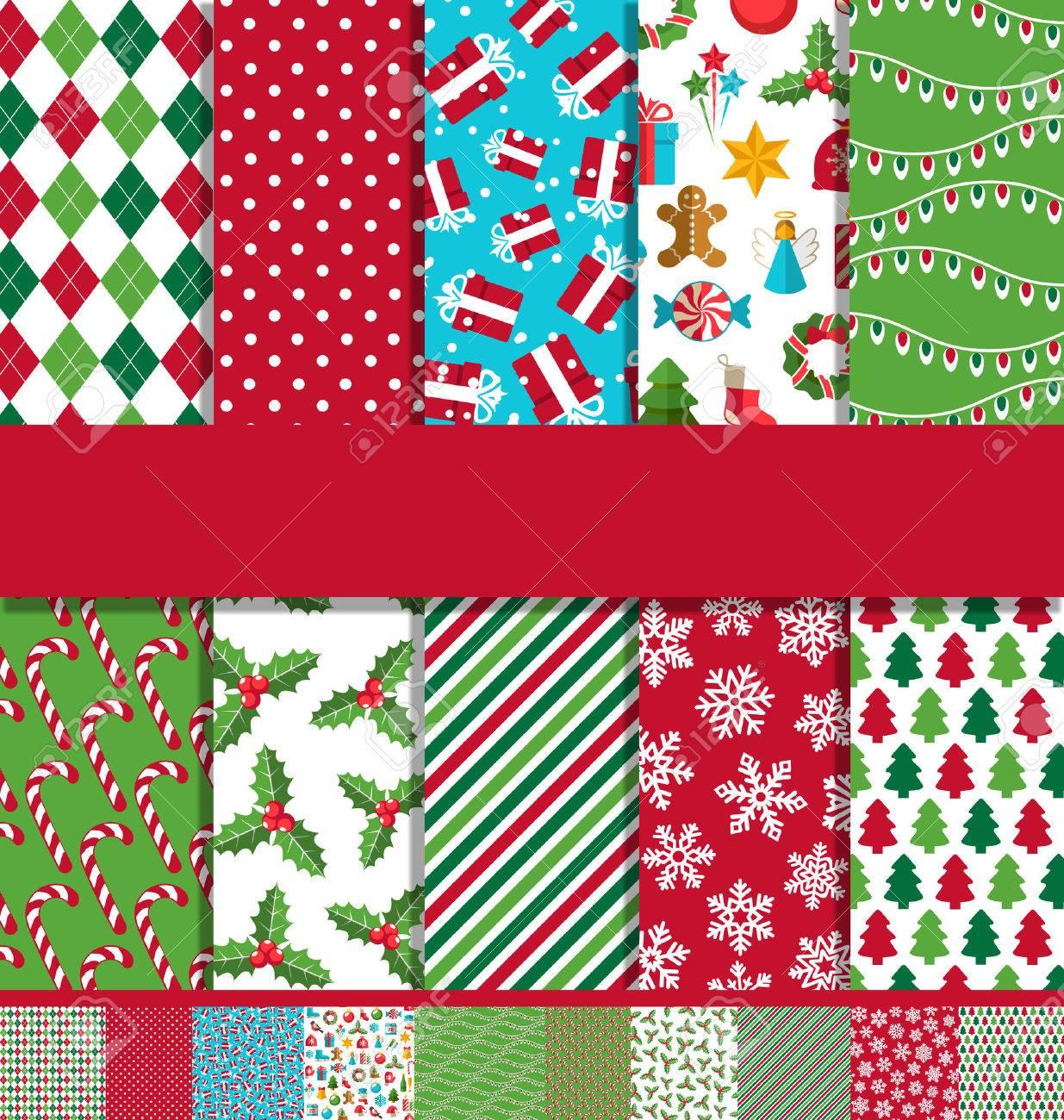 Set of 10 Seamless Bright Fun Christmas Patterns - 48734537