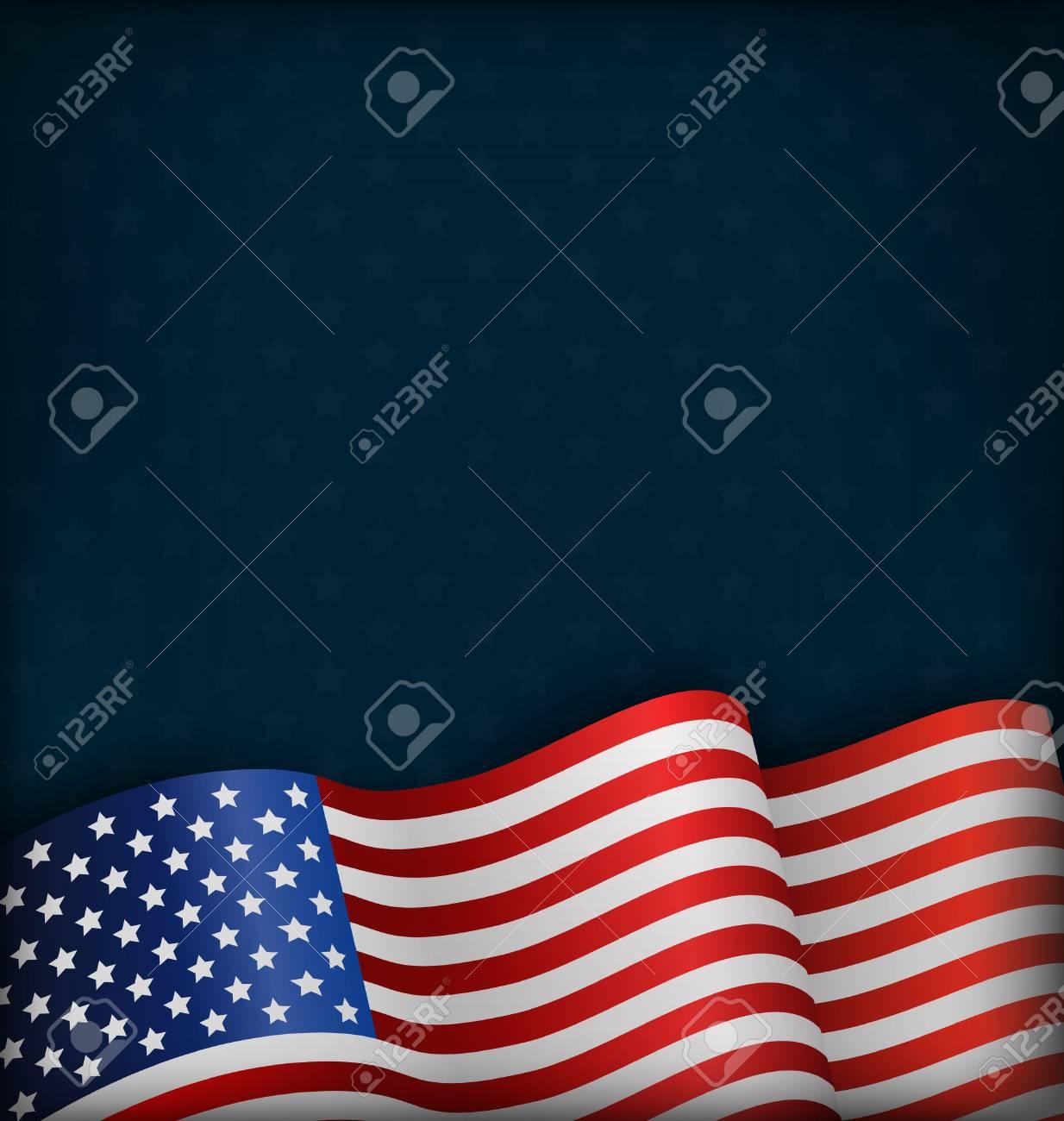 Wavy USA National Flag on Blue Background - 55717672