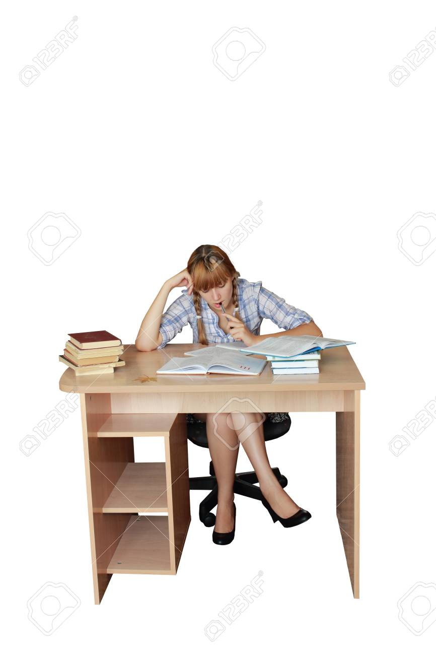 Teen girl for homework Stock Photo - 15199563
