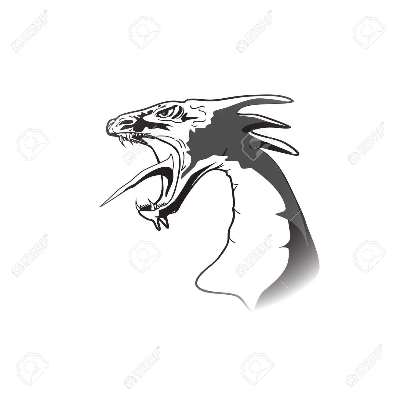 Dragon Head Black And White With Open Jaw Royalty Free Cliparts ...