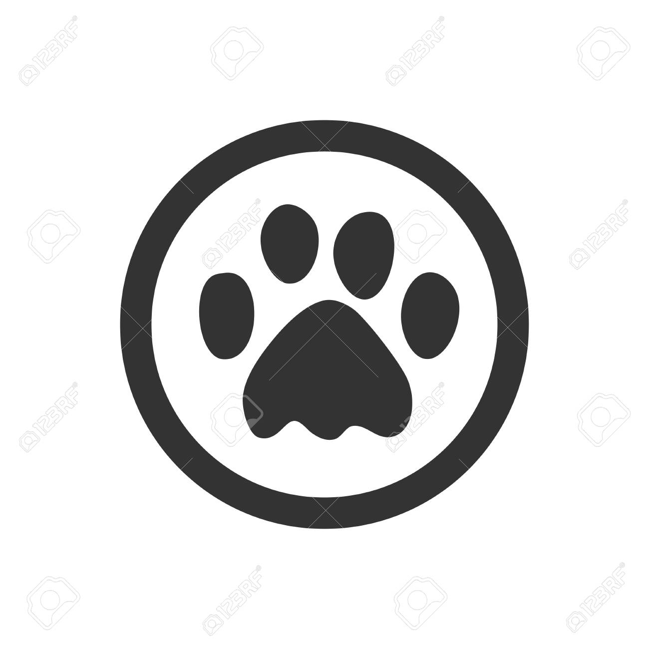 Paw Prints Dog Or Cat Paw Print Flat Icon For Animal Apps And