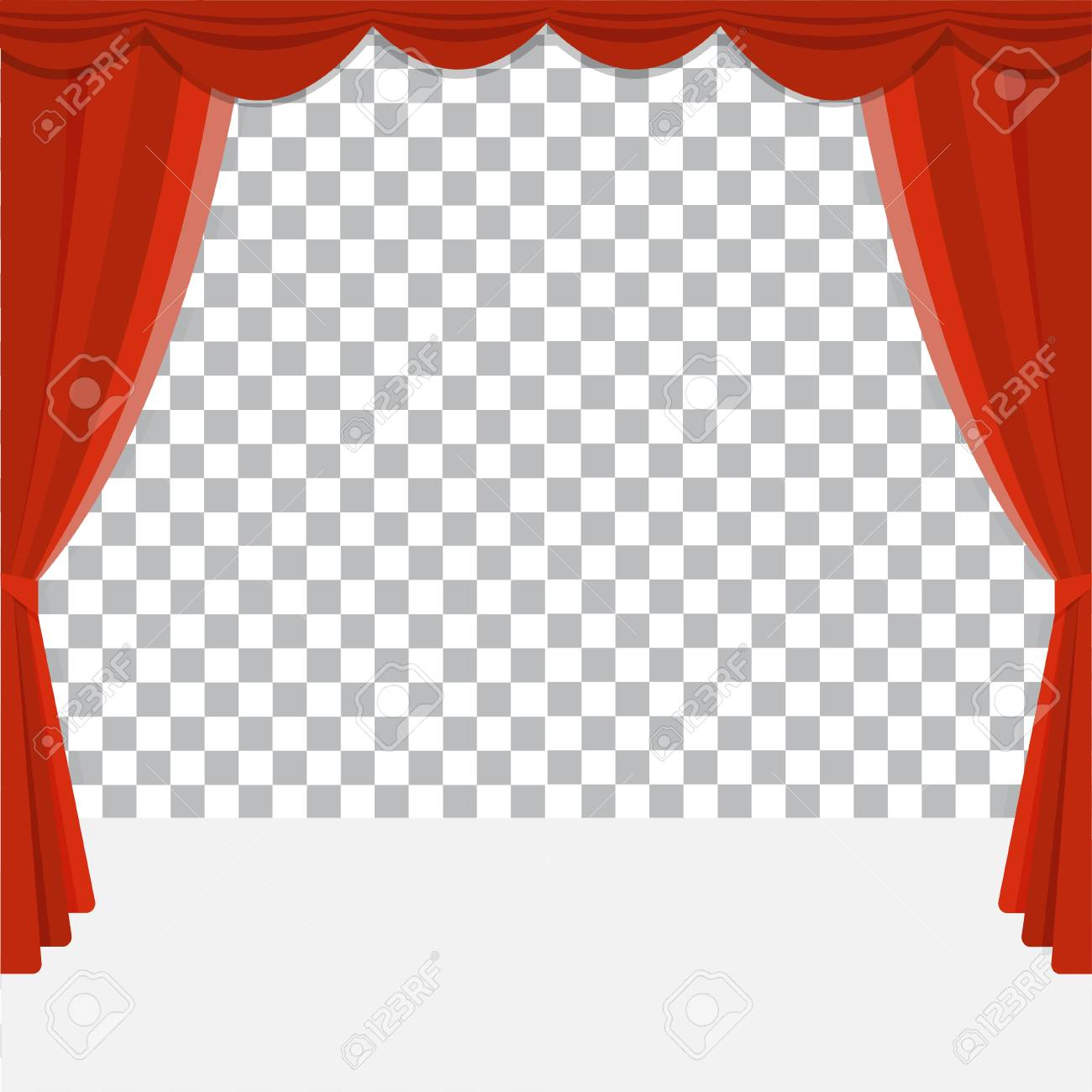 red theater curtain vector transparent background poster for