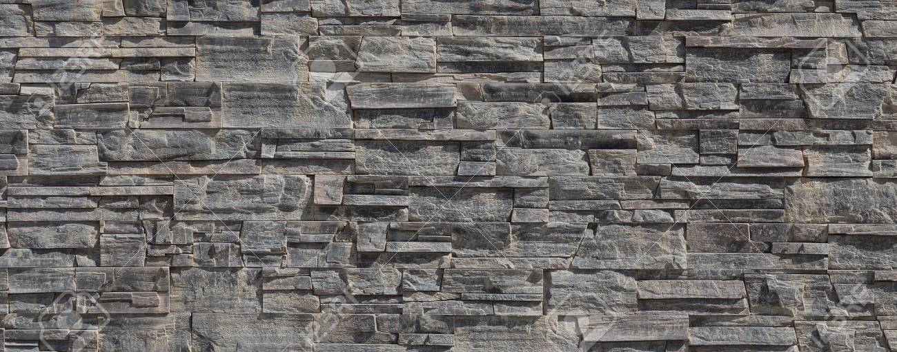 Pattern Wall From Grey Decorative Stones Stock Photo Picture And