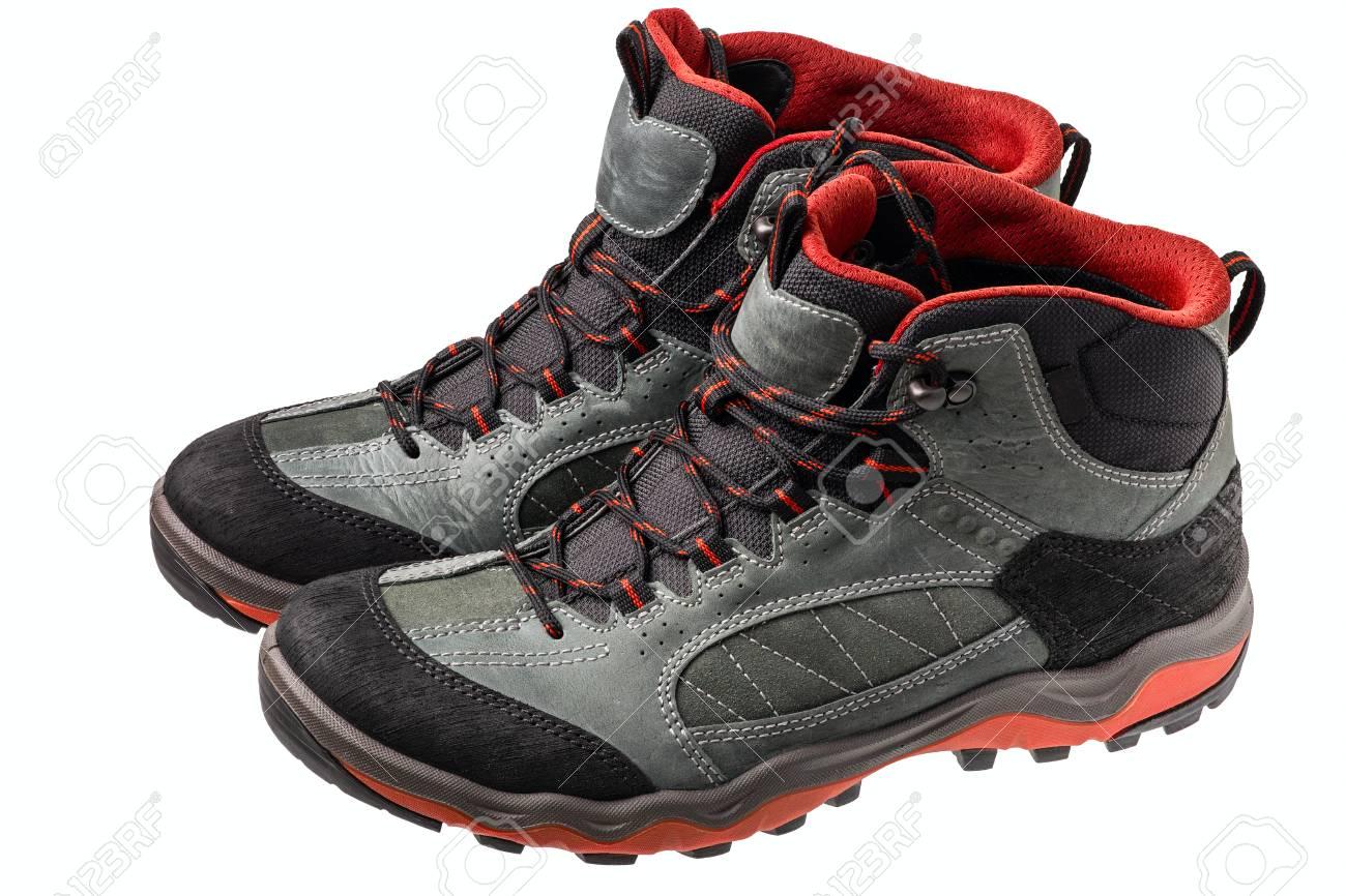 alta calidad hermosa en color disfruta el precio más bajo Botas para trekking vista lateral sobre el fondo blanco. Zapatos para  caminar en las montañas.