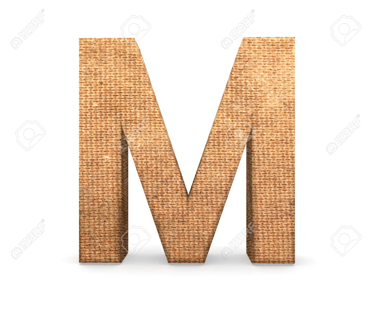 3d decorative letter from an burlap alphabet capital letter stock