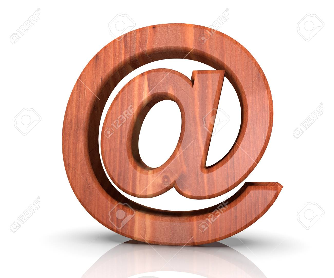 Alphabet Wooden Texture At Email Mark Sign Letter 3d Rendering
