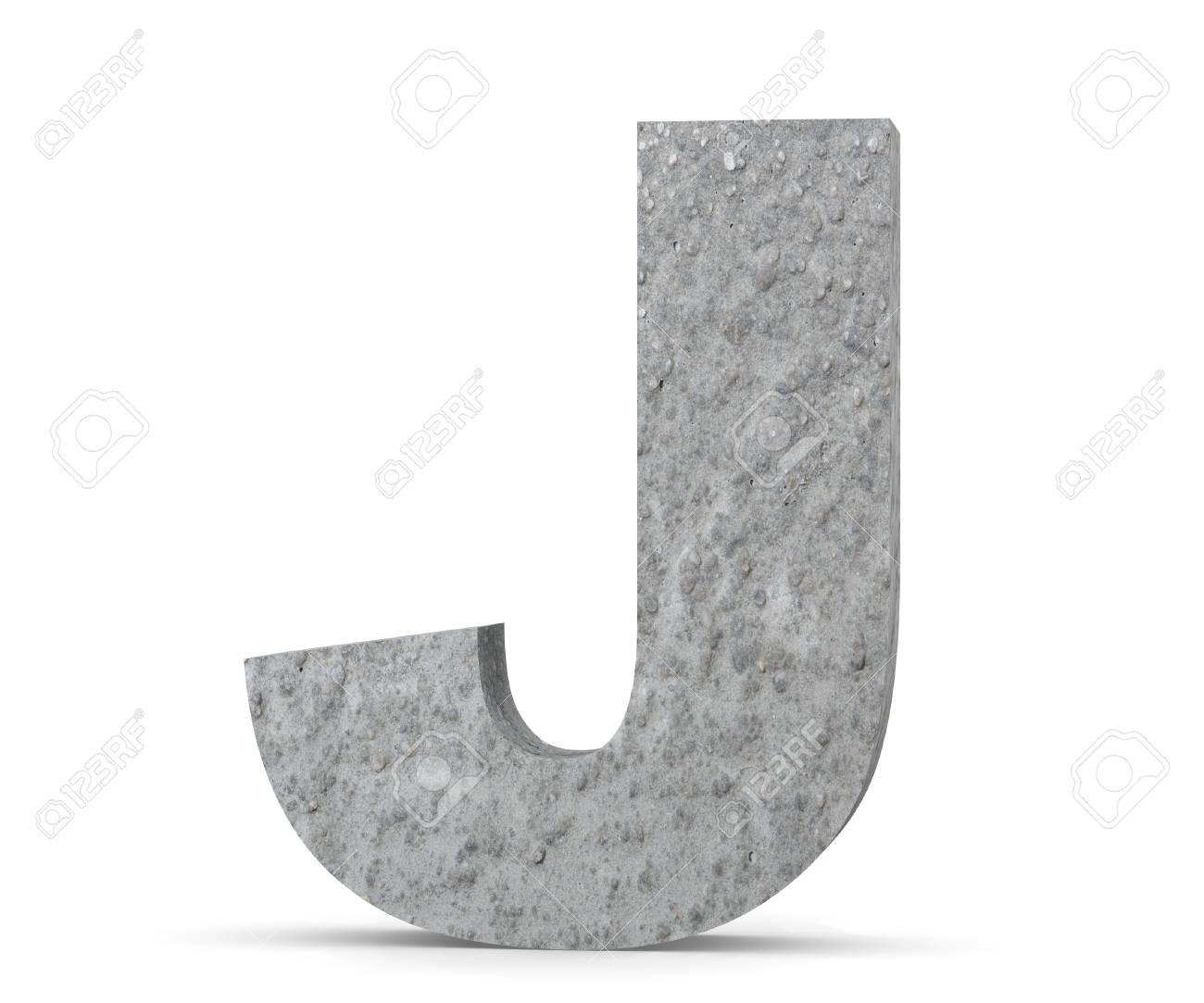 Concrete Capital Letter - J isolated on white background. 3D render Illustration - 118984435