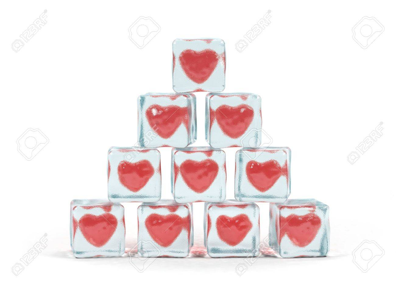 Hearts frozen in ice cube. 3D image. Stock Photo - 3177749