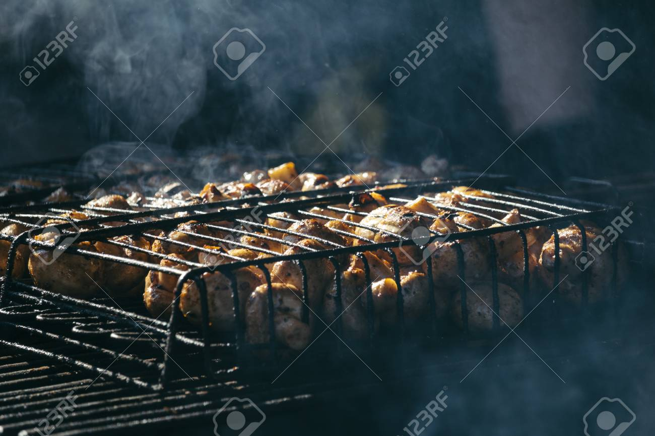 a4c1efc9d5ef Champignon white mushrooms grilled on grill or BBQ steam and small drops of  water Stock Photo