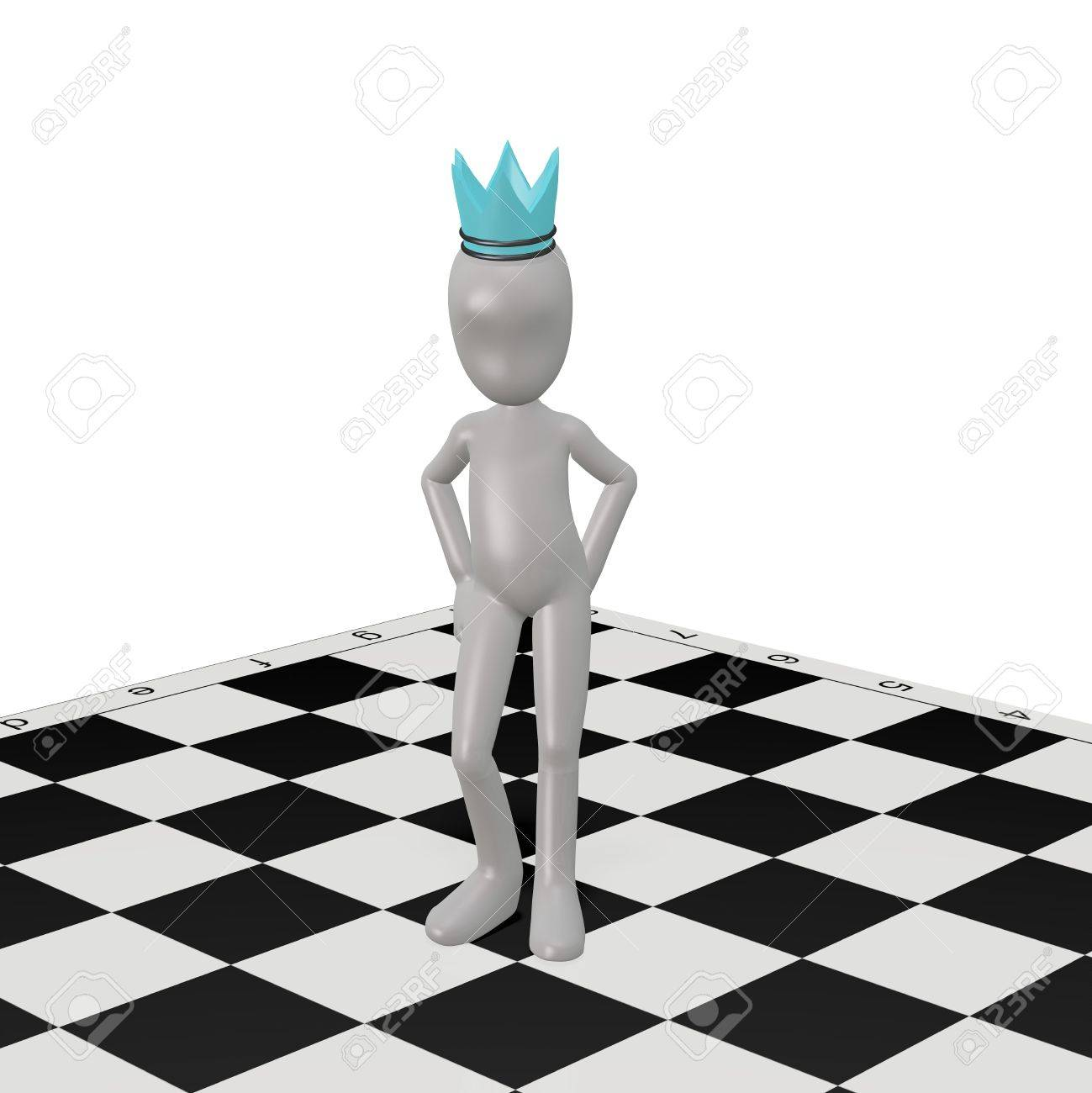 The white man invents chess strategy. 3d render Stock Photo - 9491105