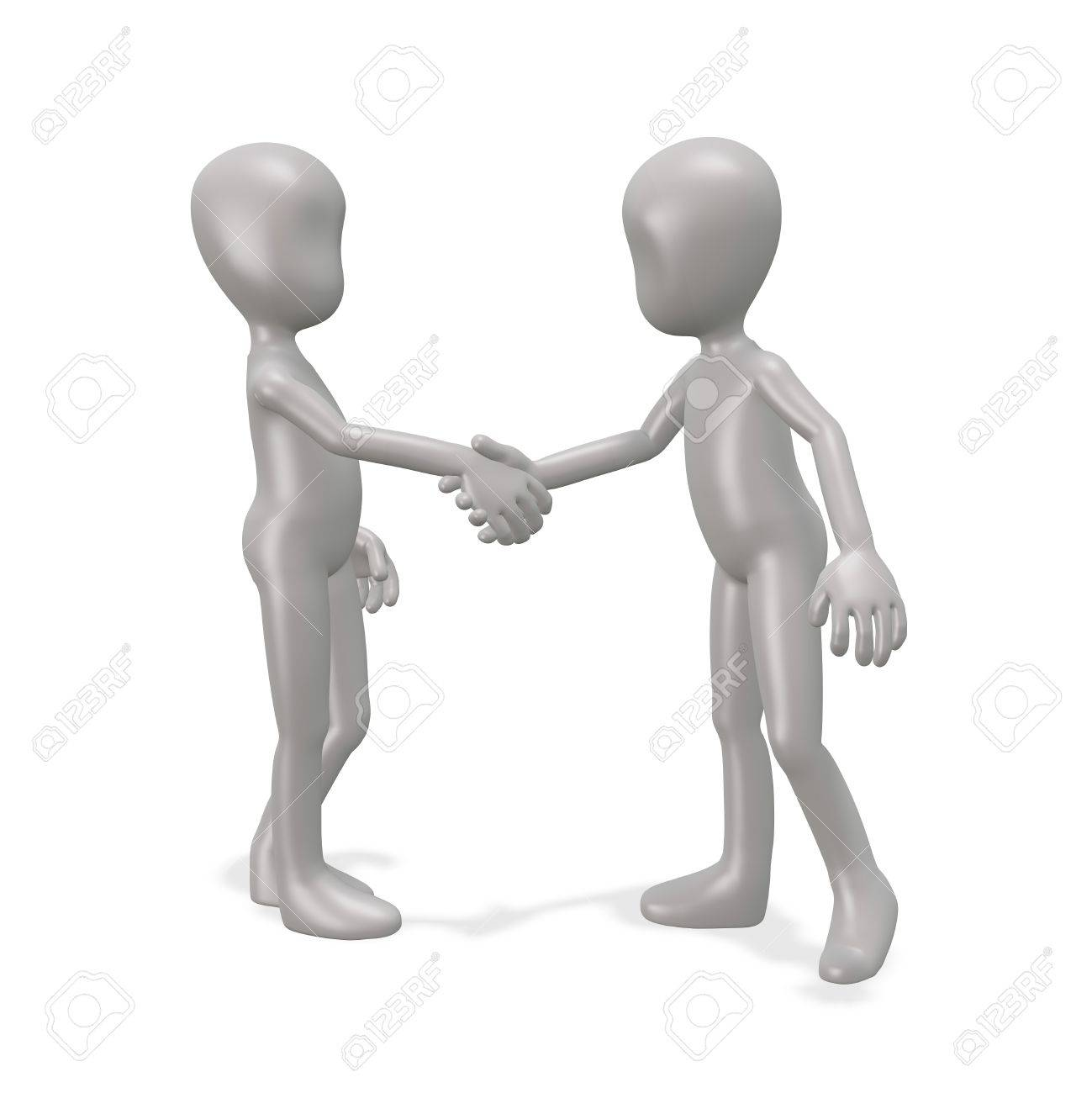 The man shakes hands with a friend. 3d render Stock Photo - 9528526