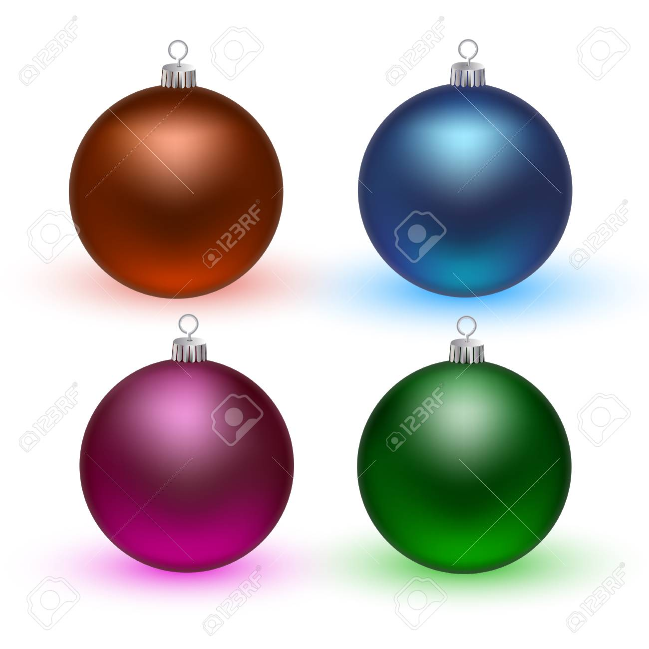 colorful christmas balls set of isolated realistic decorations vector illustration stock vector