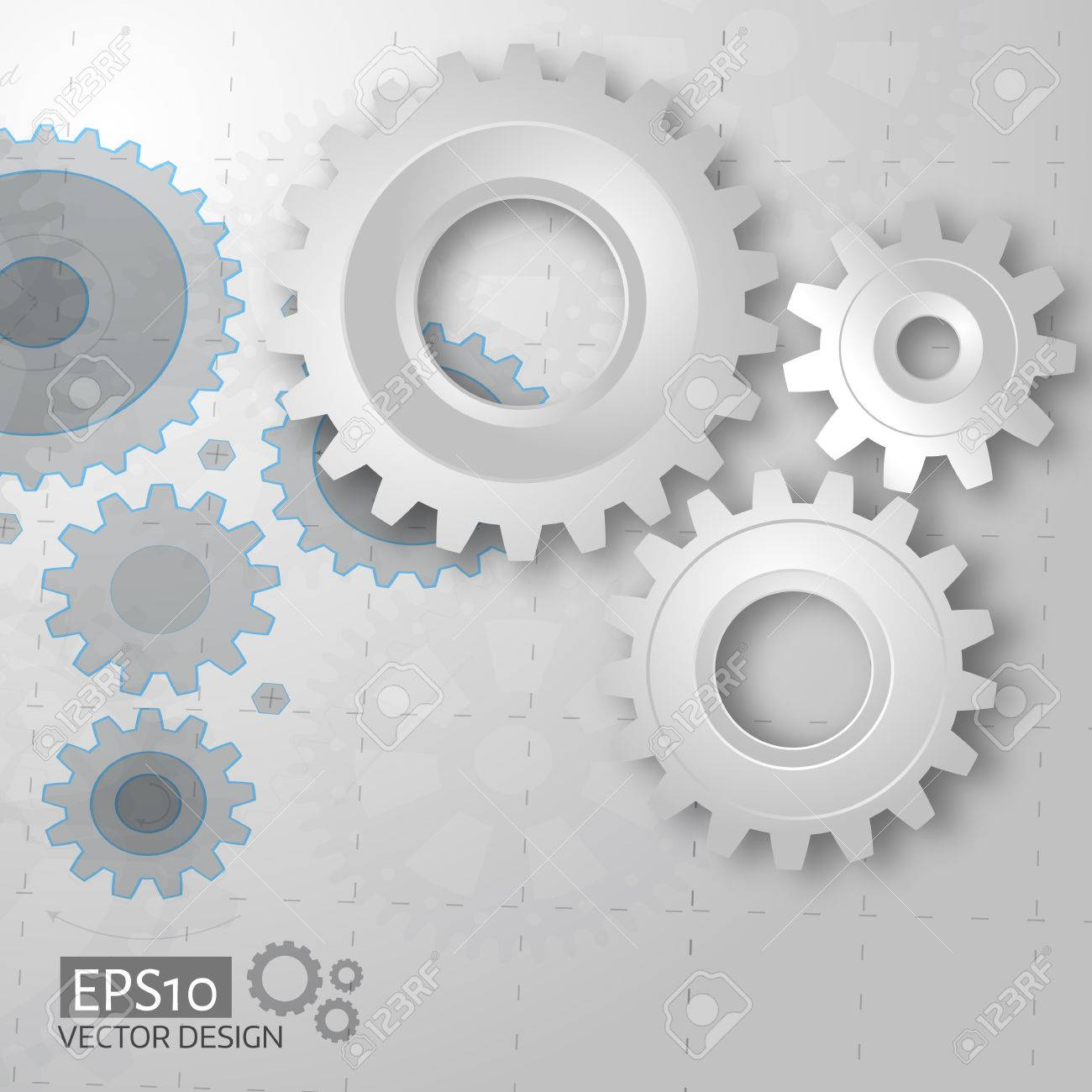 White 3d gears on the gray blueprint background infographic white 3d gears on the gray blueprint background infographic template cover template vector malvernweather Image collections