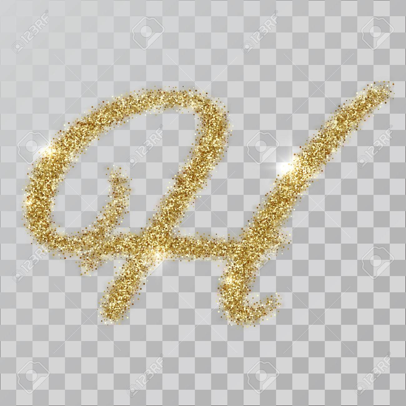 Gold glitter powder letter H in hand painted style  illustration