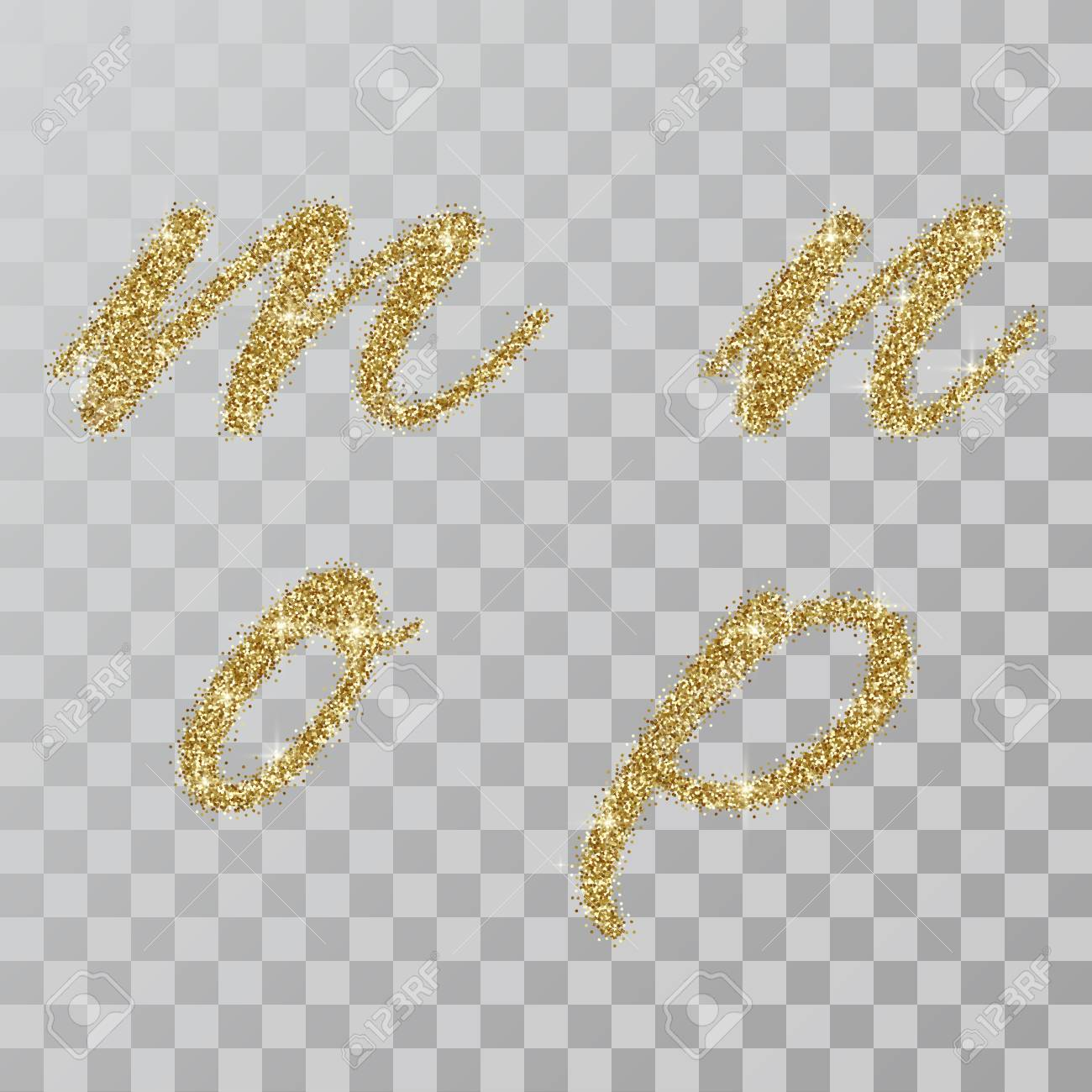 Gold Glitter Powder Letters M N O P In Hand Painted Style