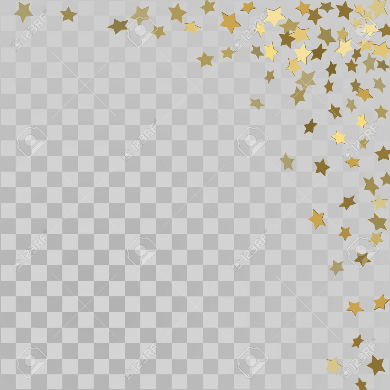 Vector frame of gold confetti  Gold 3d stars on transparent background
