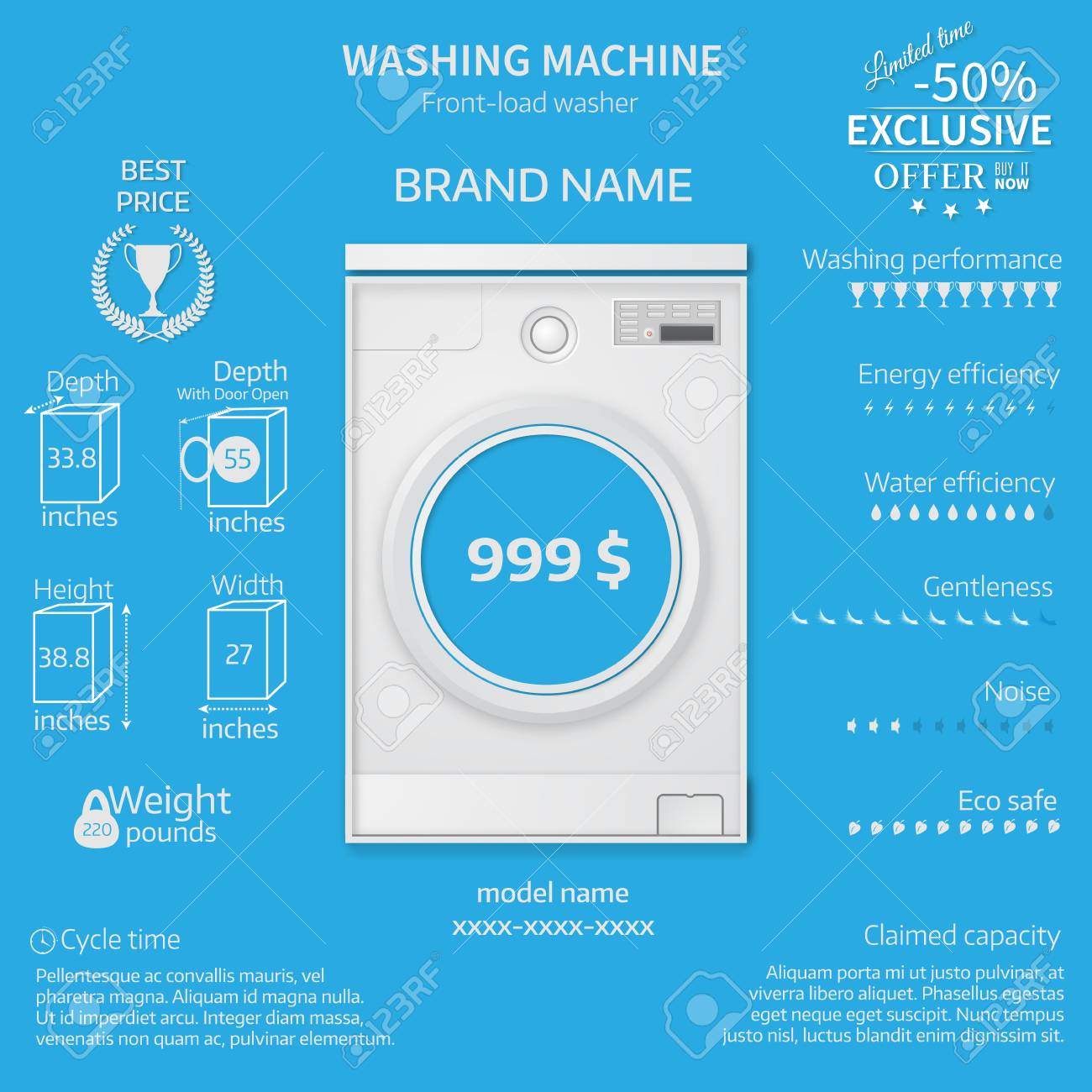 Vector Illustration Of Washer Infographic Temlate Cover Or