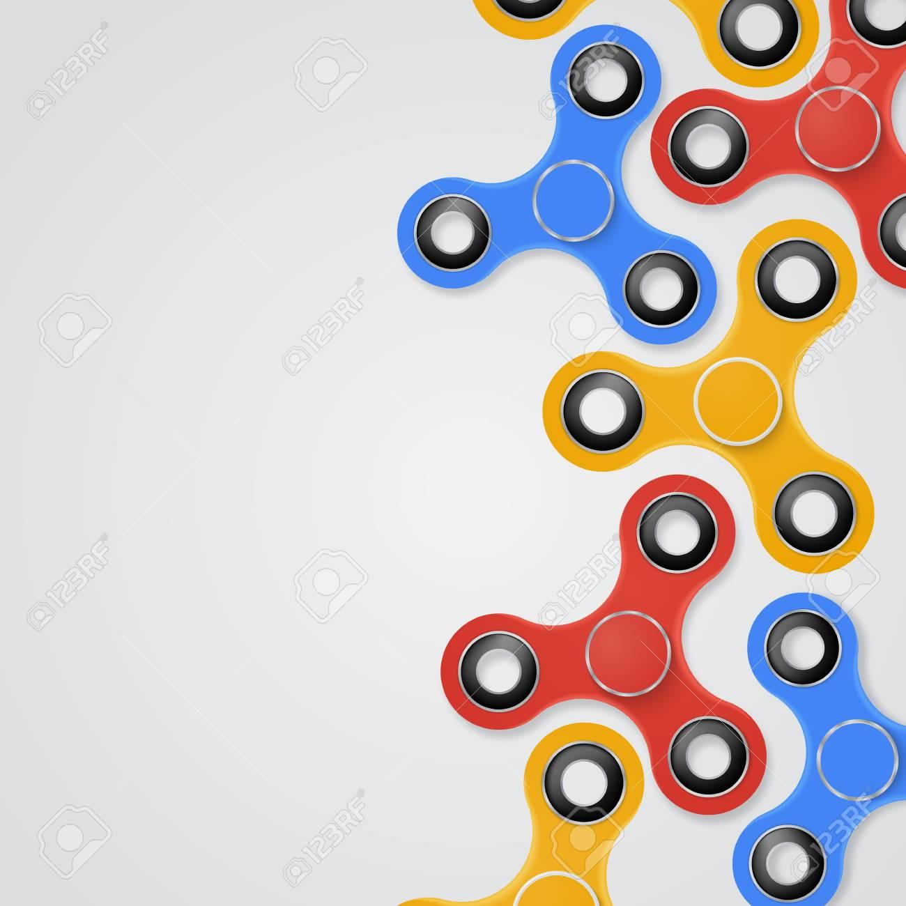 vector colorful illustration of fidget spinner banner place