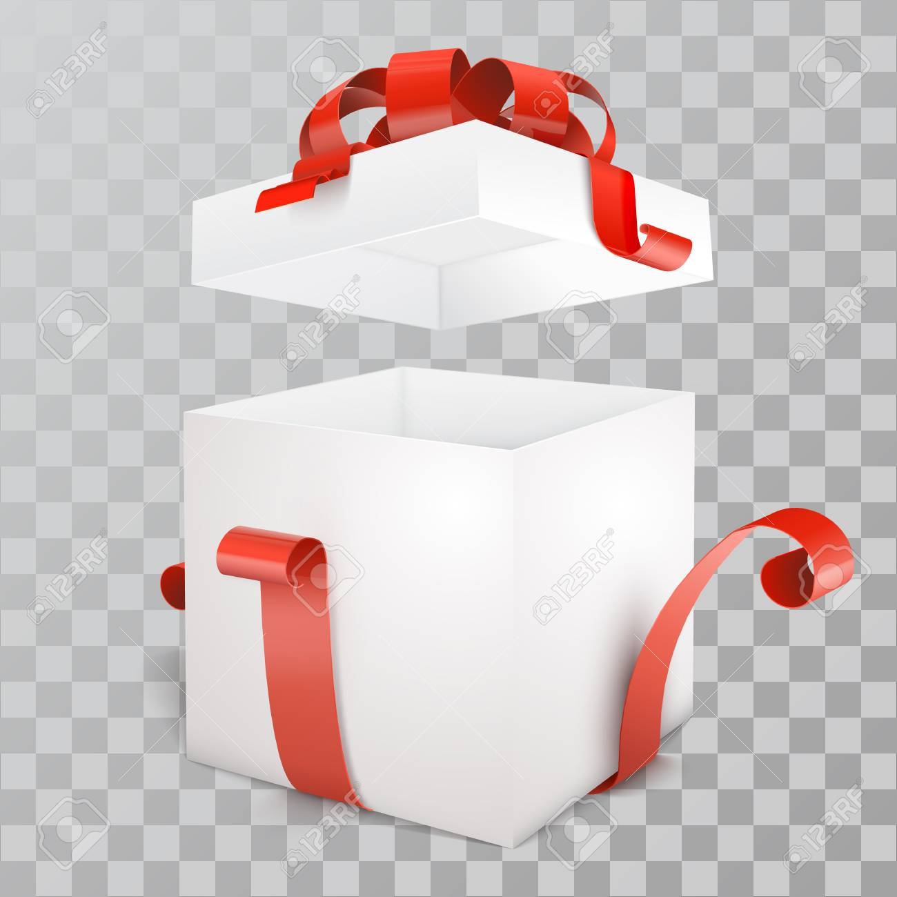 Vector white open empty gift box with red ribbon on transparent vector white open empty gift box with red ribbon on transparent background stock vector negle Gallery