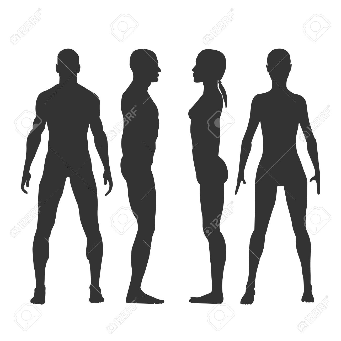 Man And Woman Vector Black Silhouettes In Front And Side View Royalty Free Cliparts Vectors And Stock Illustration Image 104612831