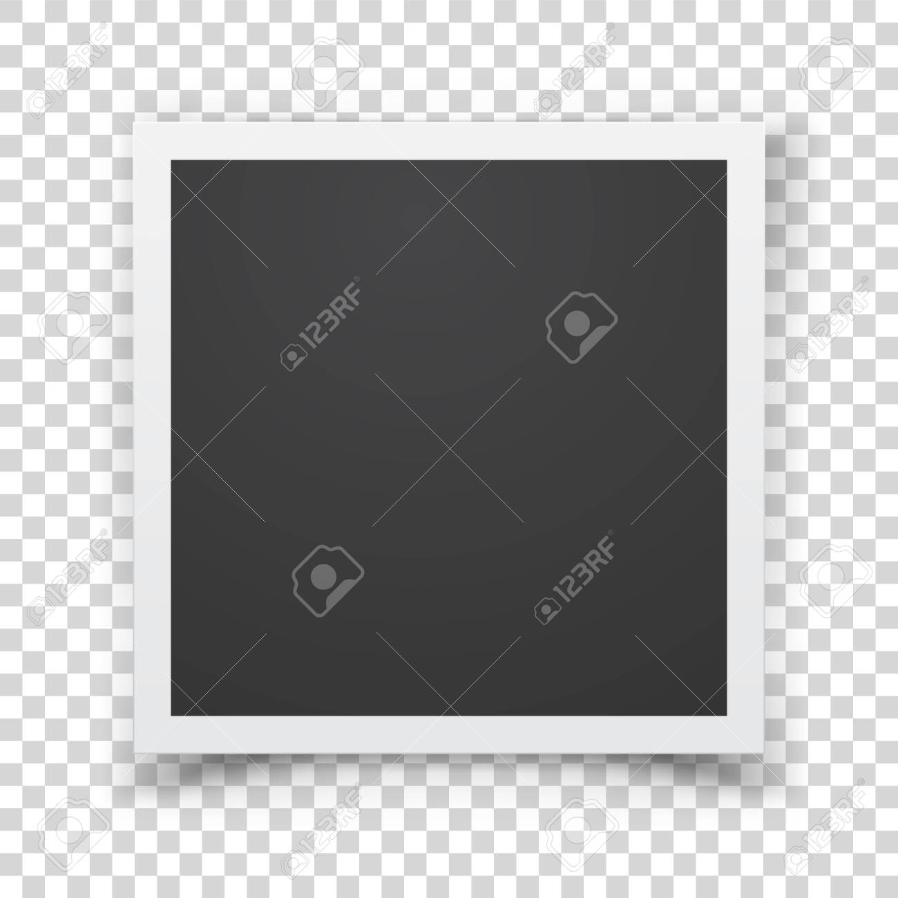 Retro photograph isolated on abstract checkered background. Realistic vector paper photo frame template for your design. Scrapbook concept, vector illustration. - 140561966