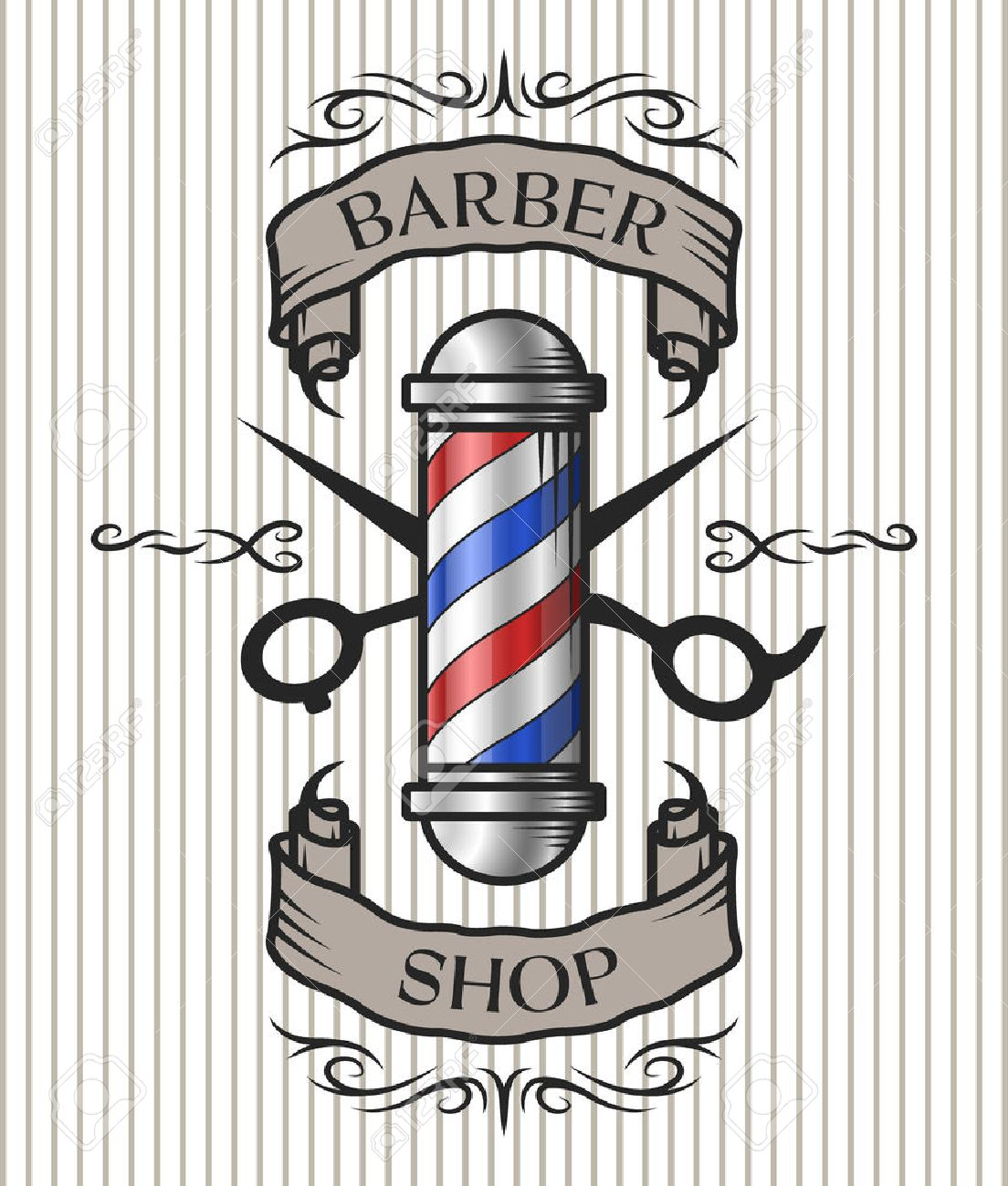 Antique barber shop sign - Barber Shop Emblem Barber Pole Scissors And Ribbon For Text In An Old Vintage