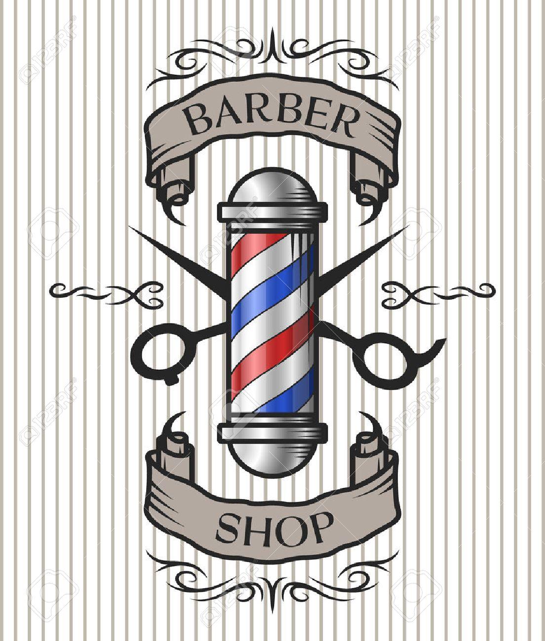 barber pole images  Barber Shop Emblem. Barber Pole,scissors And Ribbon For Text ...