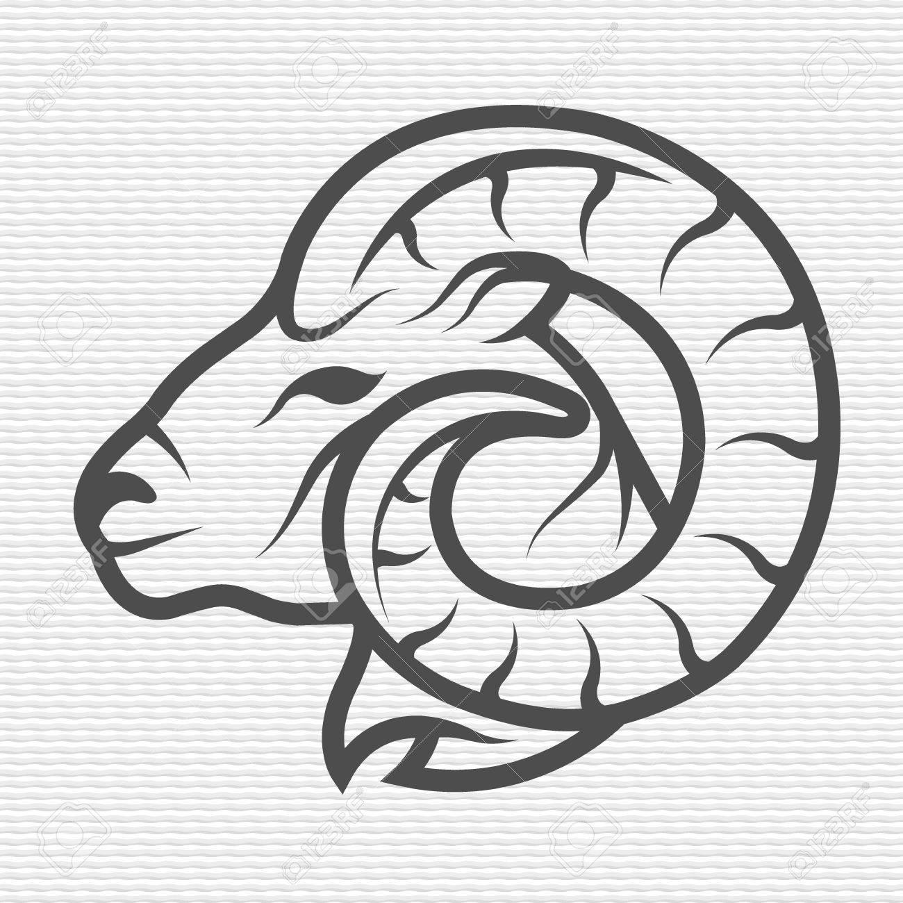 Ram symbol emblem Contour Design - 44321743