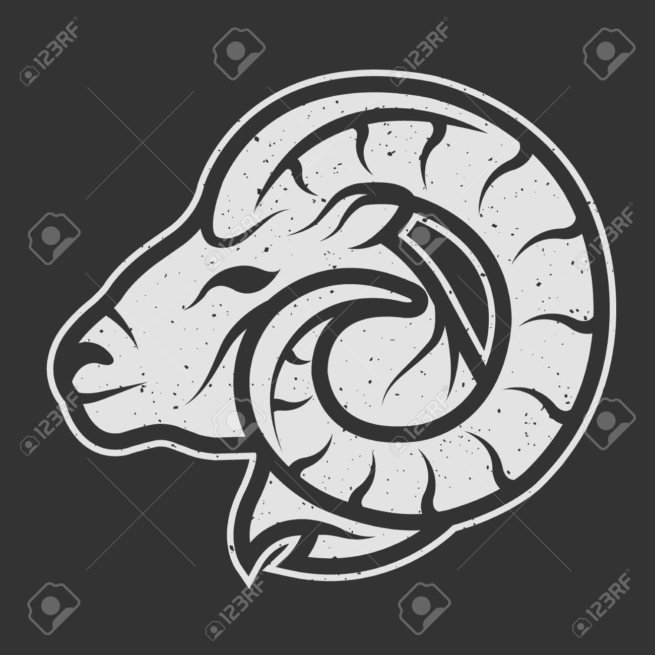 Sheep symbol logo for dark background. Vintage linear style. - 45946227